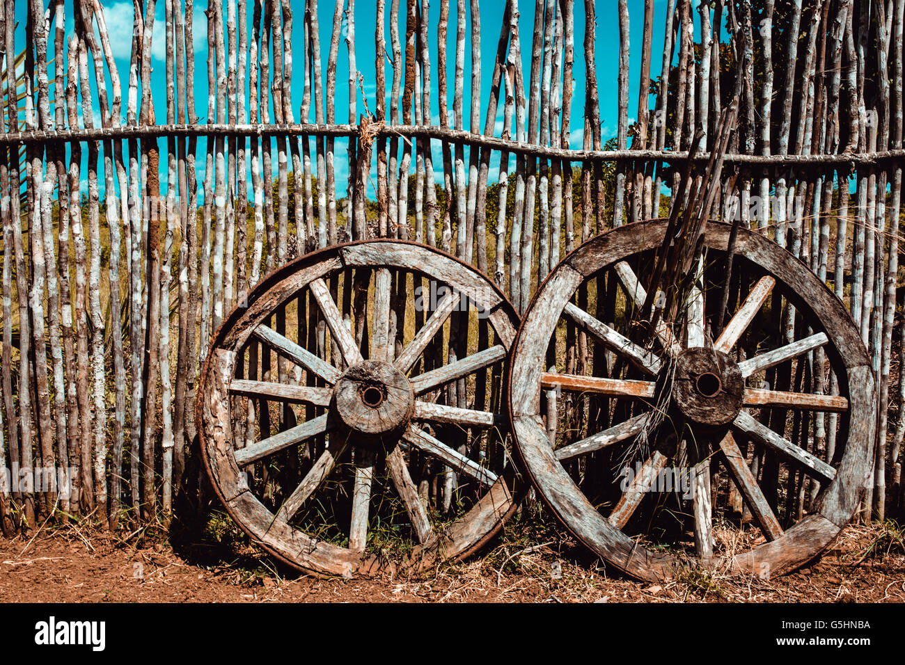 Two Old Wagon Wheels Stock Photos & Two Old Wagon Wheels