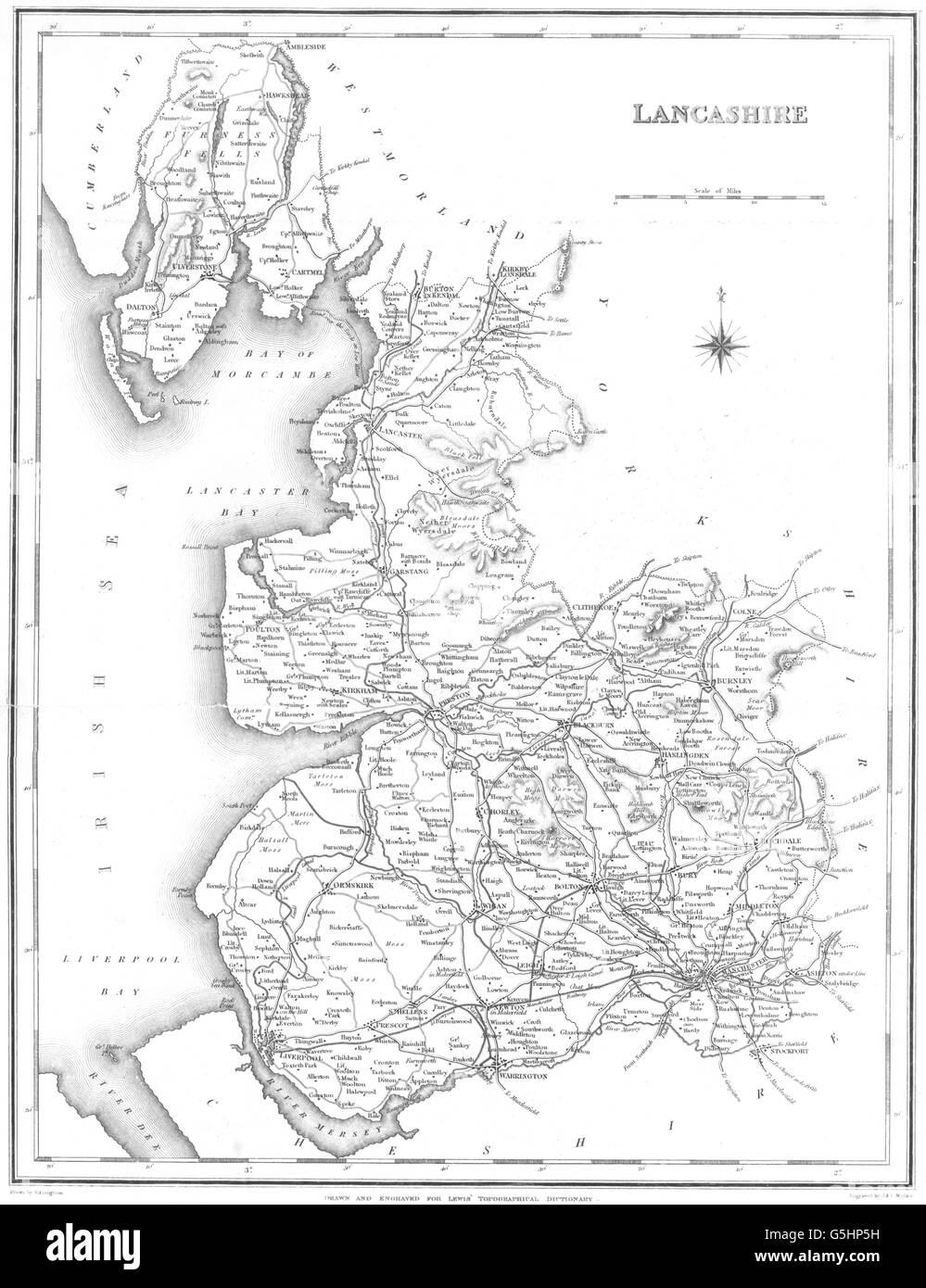 Topographical Dictionary England Lancashire Map Stock Photos - Antique map box