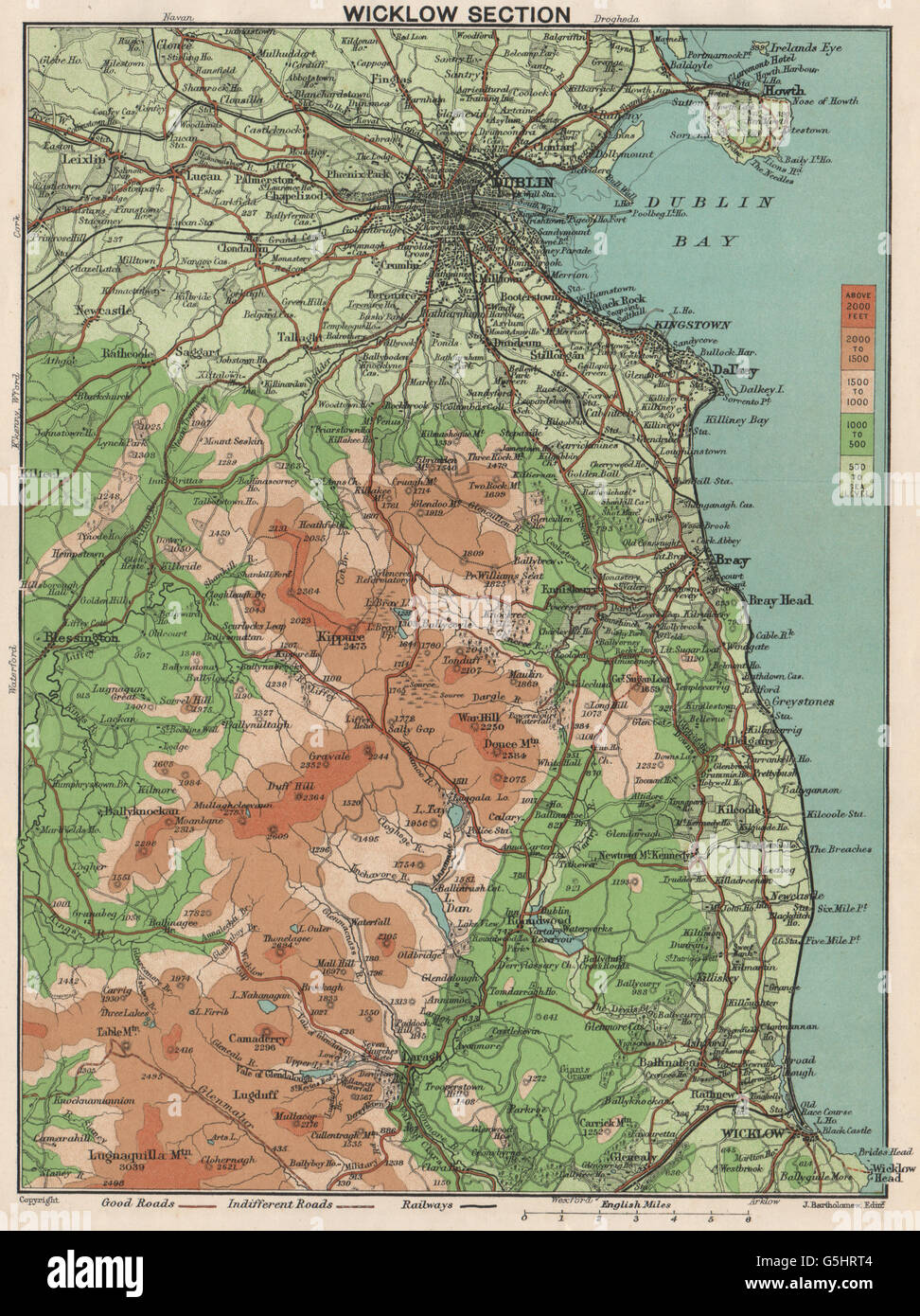 Map Of Ireland With Mountains.Wicklow Mountains And Dublin Vintage Map Ireland 1902 Stock Photo