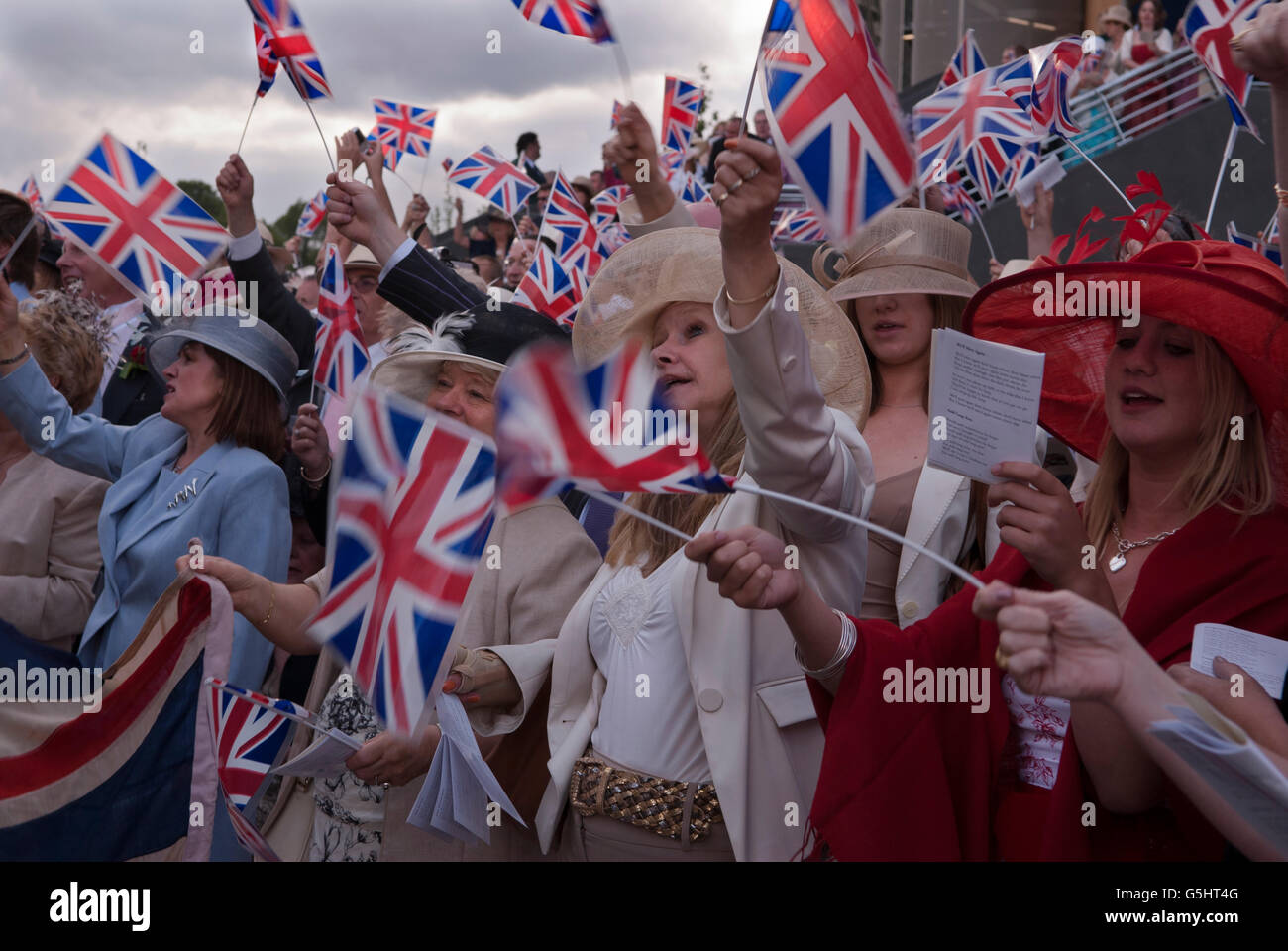Royal Ascot singing 'land of hope and glory' around the bandstand at the end of Ascot horse tracing.2000s - Stock Image