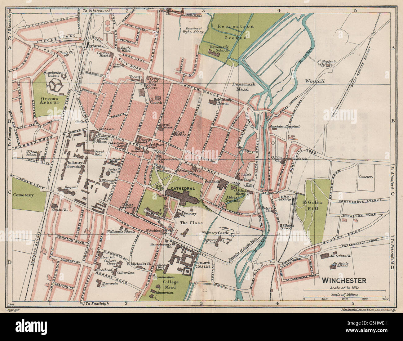 Winchester Vintage Town City Map Plan Hampshire 1930 Stock Photo