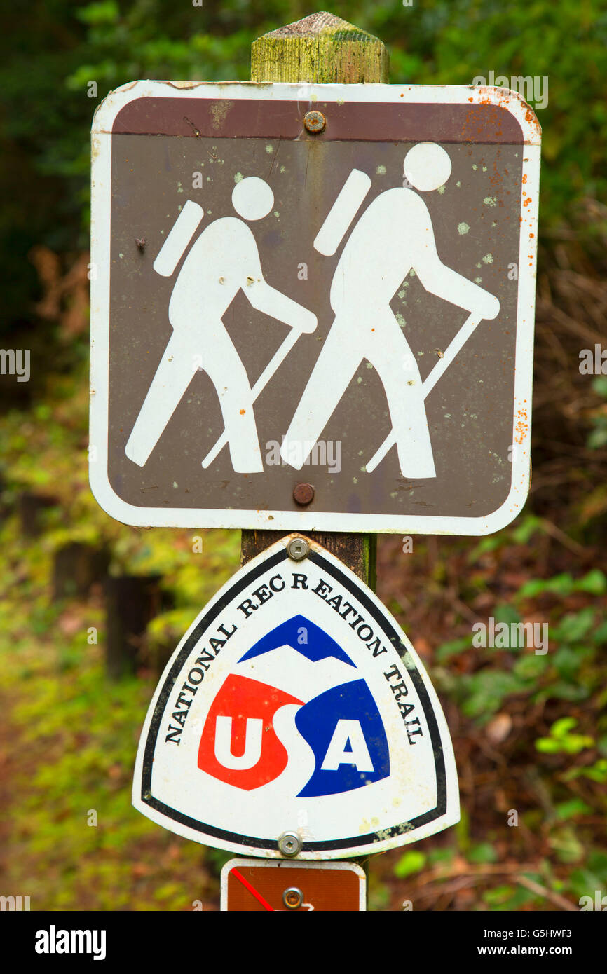 National Recreation Trail sign at Tahkenitch Dune Trail, Oregon Dunes National Recreation Area, Oregon - Stock Image