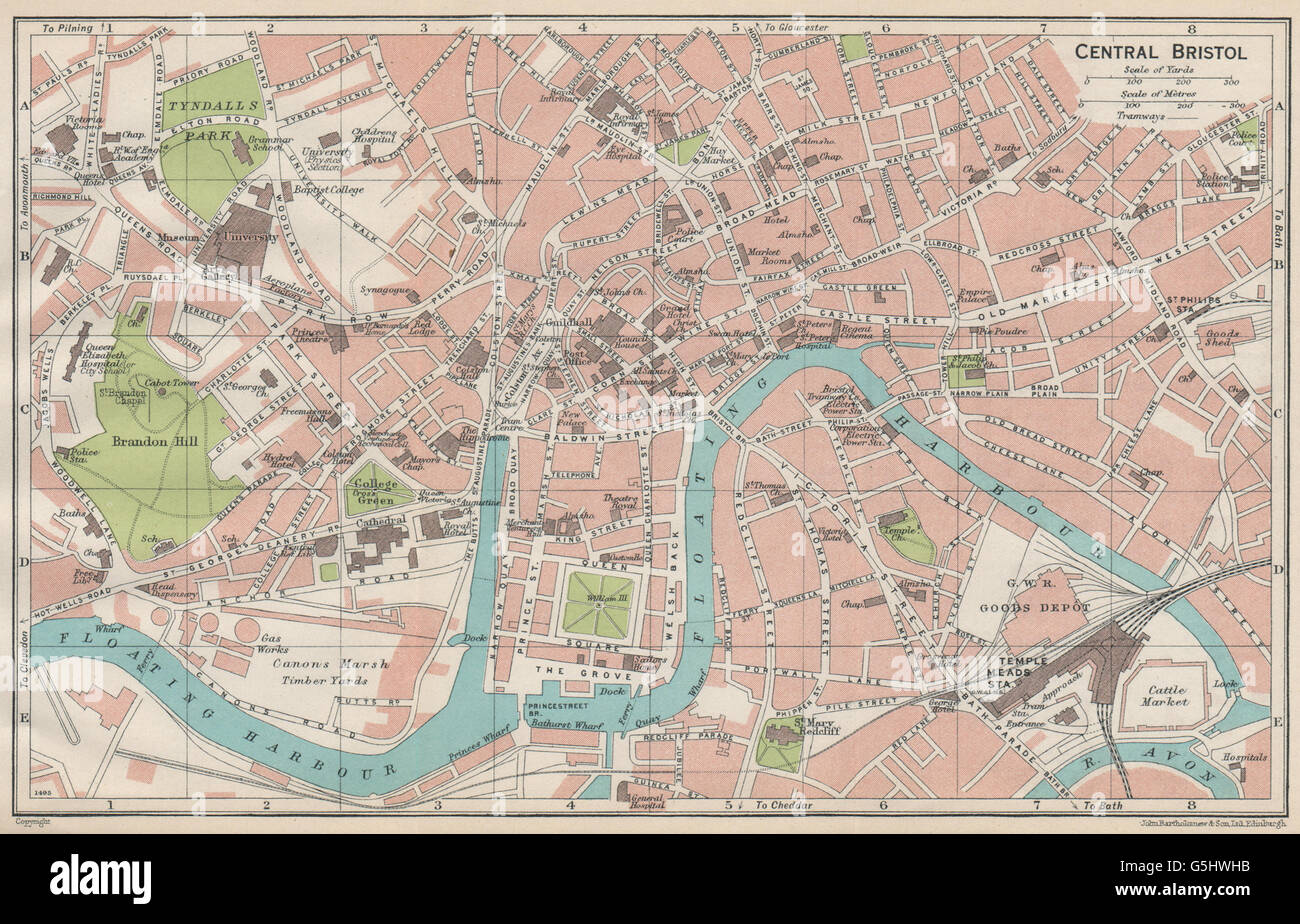CENTRAL BRISTOL Vintage town city map plan