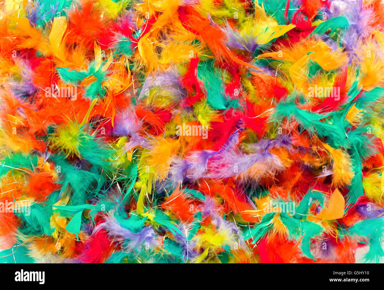 Background texture of colorful feathers - Stock Image