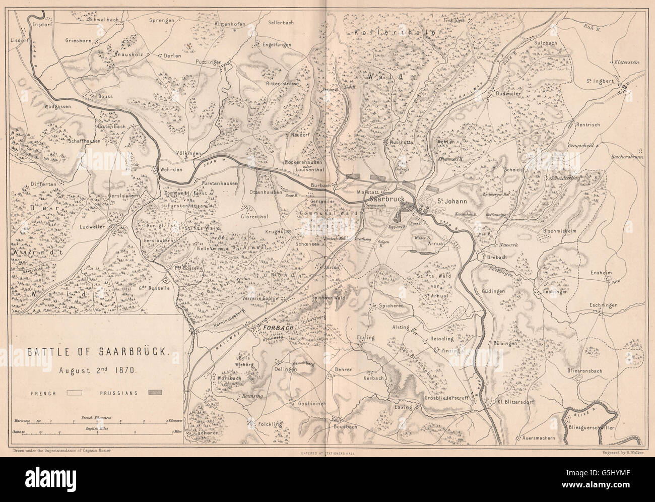 Saarbrucken Germany Map.Franco Prussian War Battle Of Saarbrucken 1870 Forbach Germany