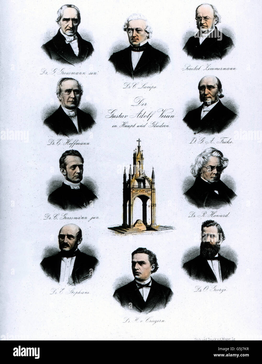 Berühmte Männer des Gustav Adolf Vereins aus dem Jahre 1882. Famous men of the Gustav Adolf association - Stock Image