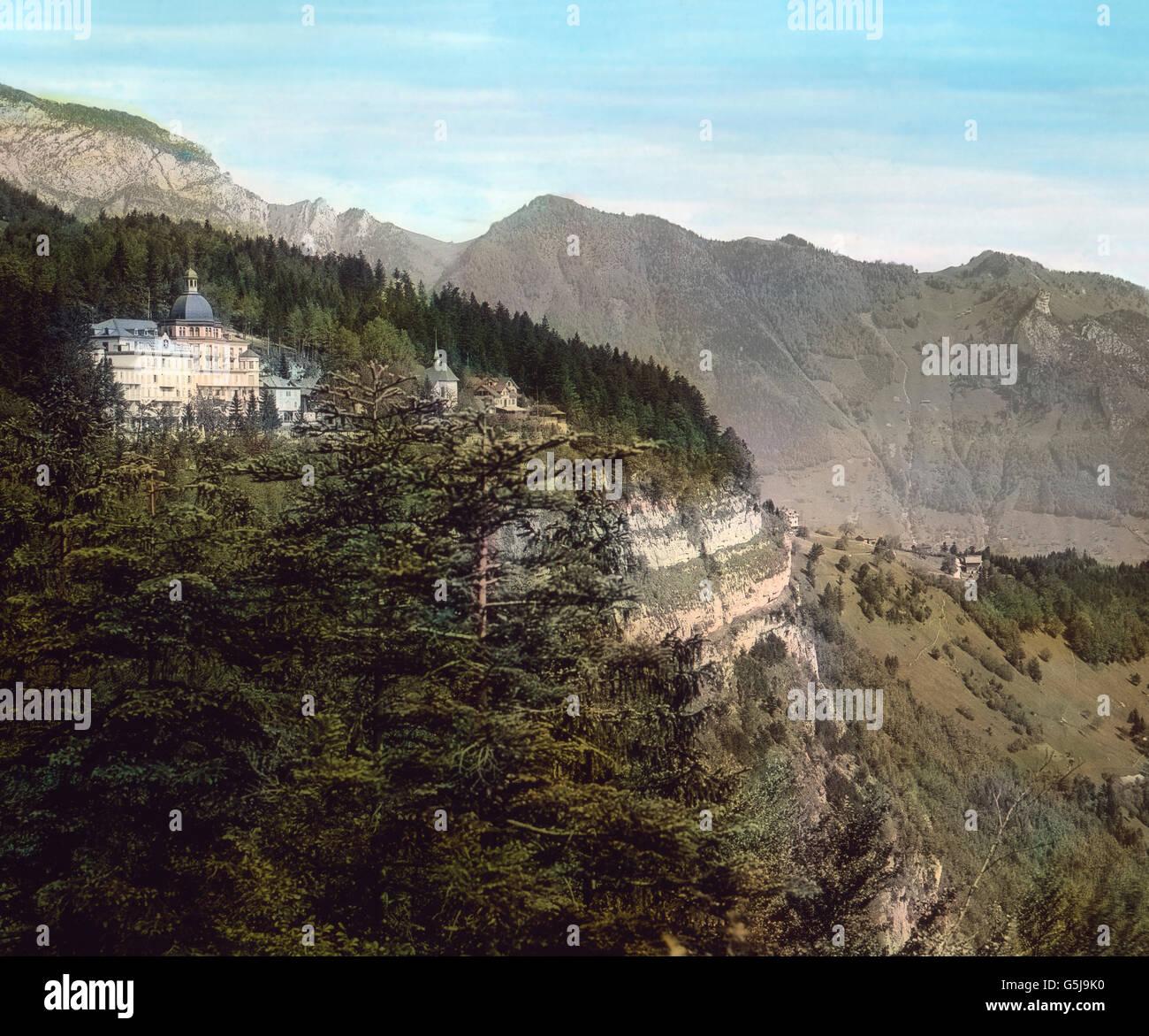 Ansicht der Gemeinde Seelisberg im Kanton Uri in der Schweiz, ca. 1910er Jahre. The municipality of Seelisberg at canton Uri in Switzerland, ca. 1910s. Stock Photo