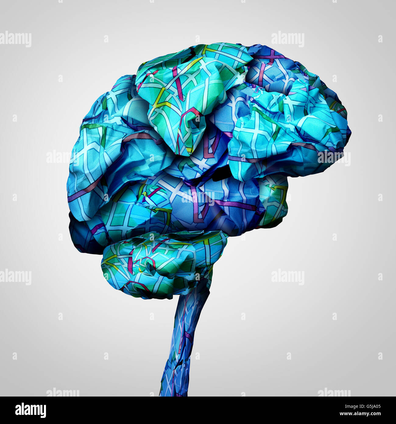 Brain mapping mental health concept and psychology challenge symbol or brainstorming icon as a group of crumpled - Stock Image