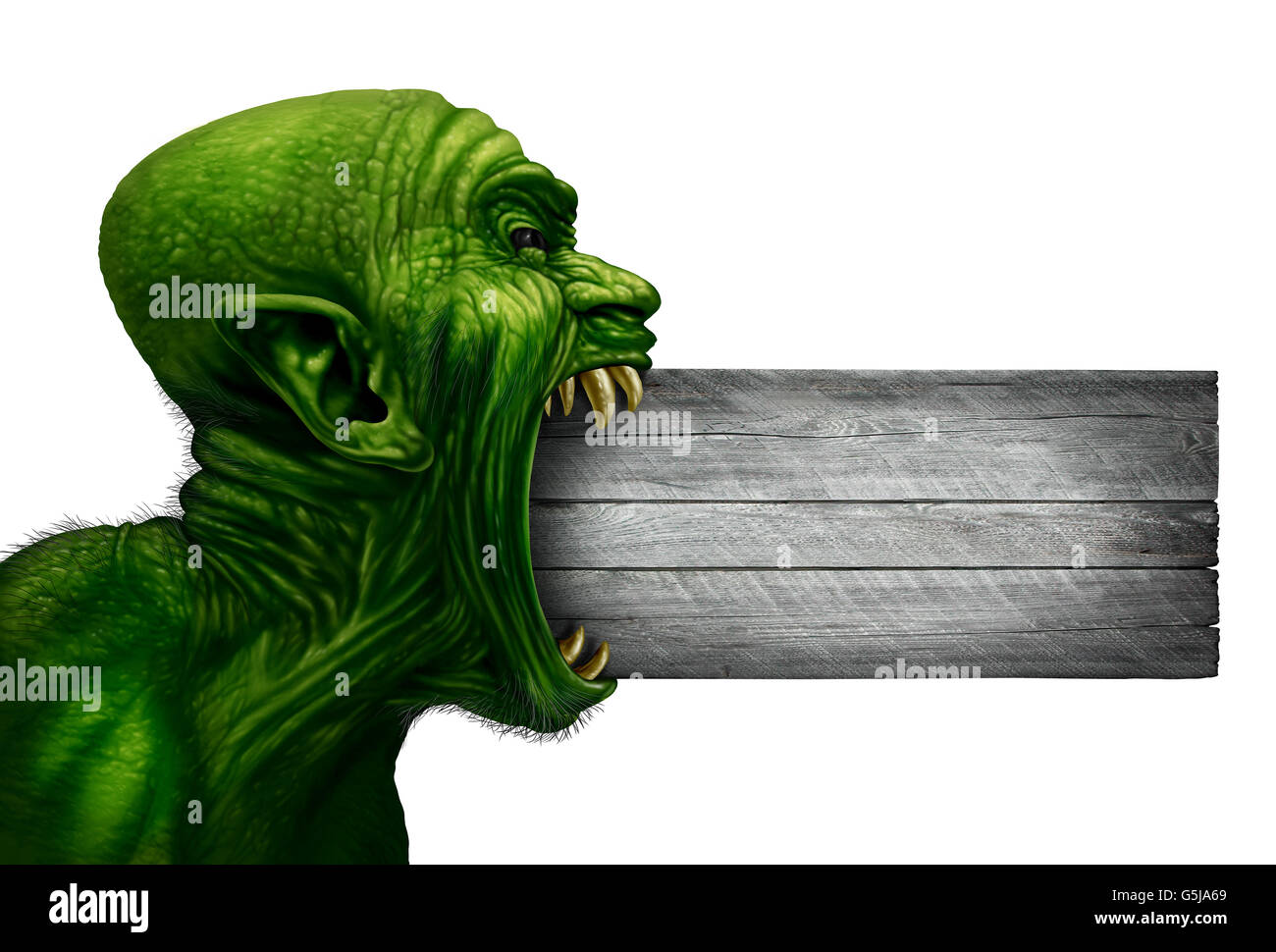 Zombie head blank sign and monster face side view as a demon or mutant beast biting into a wood signage as a creepy - Stock Image