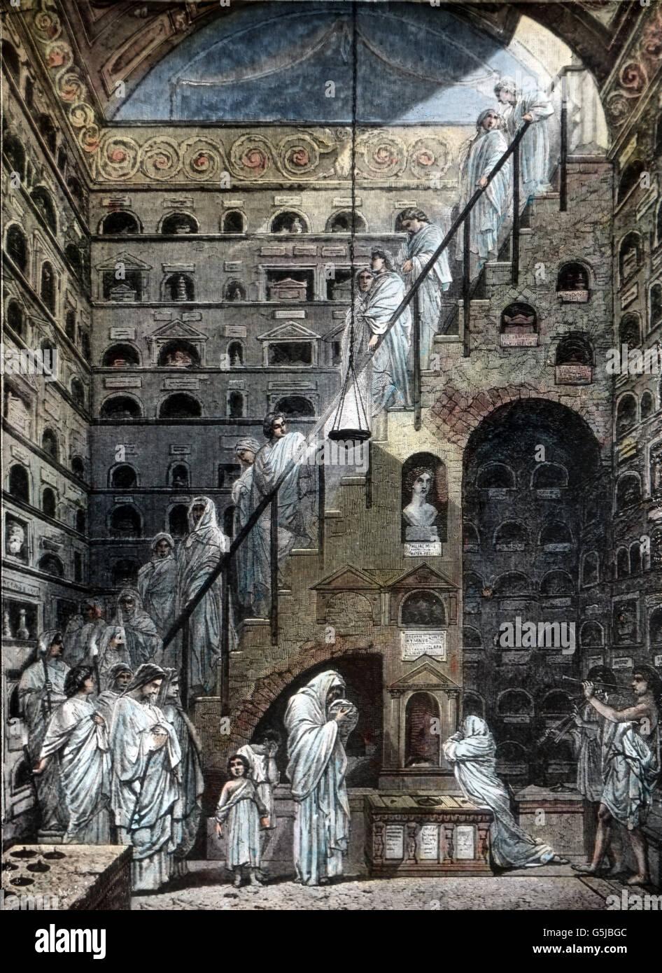 Ein römisches Columbarium ist ein oberirdisches Gebäude zur Bestattung von Urnen. A columbarium is a place for peaceful storage of urns. Stock Photo