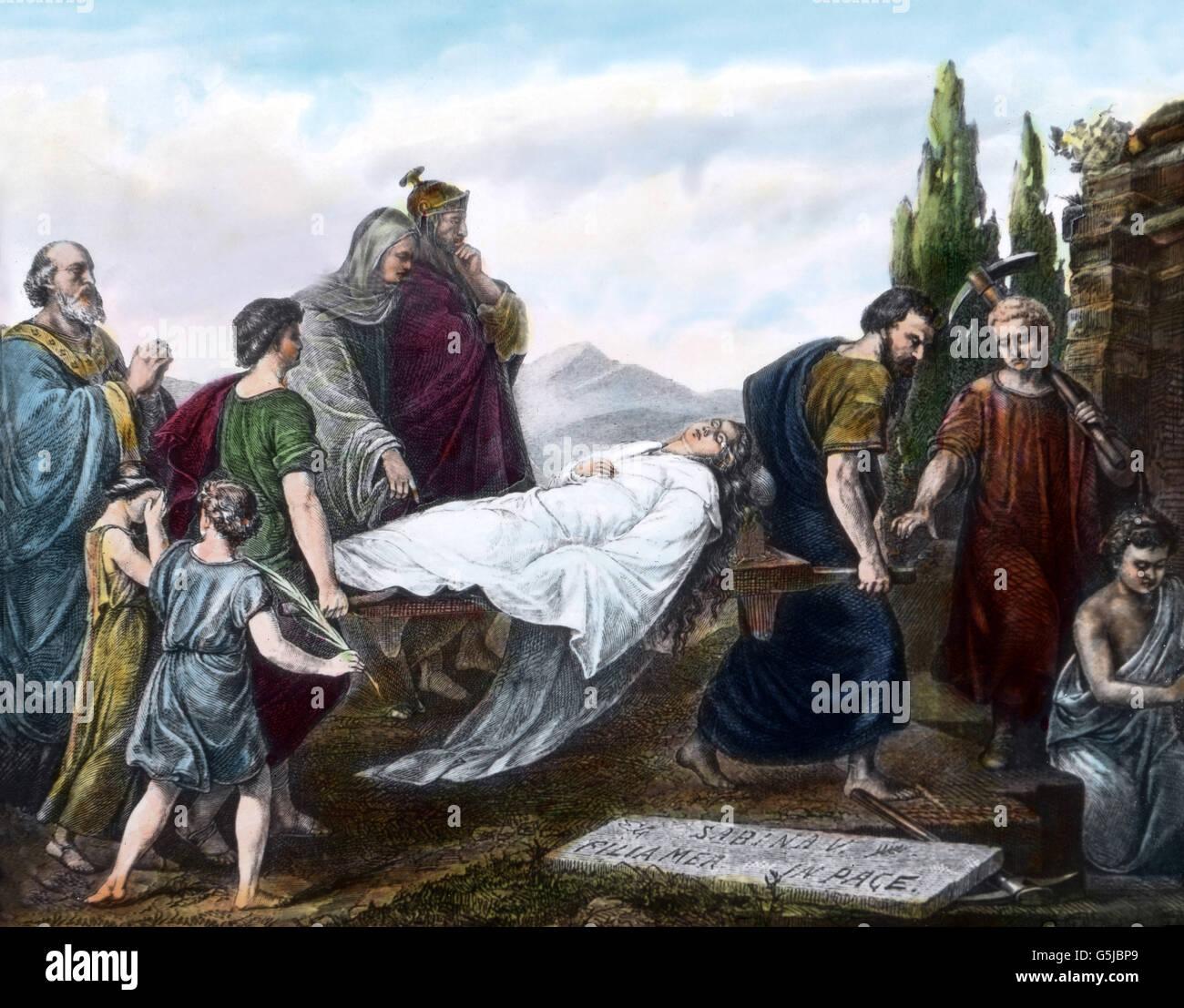 Die Bestattung der heiligen Caecilia, mit dem Trauerzug vor ihrer Katakombe in Rom, Italien. Funeral procession of St. Cecilia in front of her tomb at Rome, Italy. Stock Photo