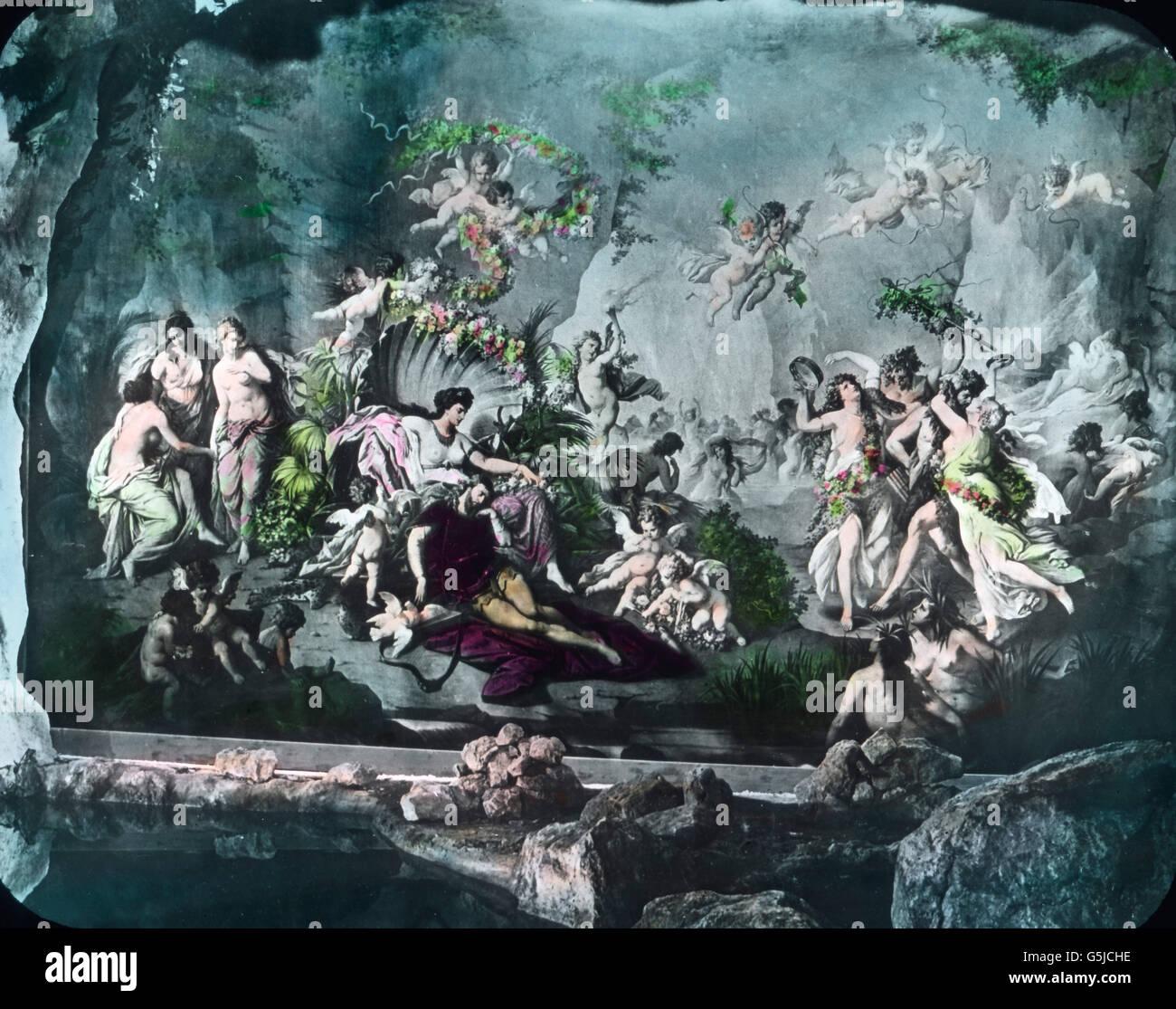 Fresko An Der Wand Der Blauen Grotte Auf Schloss Linderhof In Ettal Stock Photo Alamy