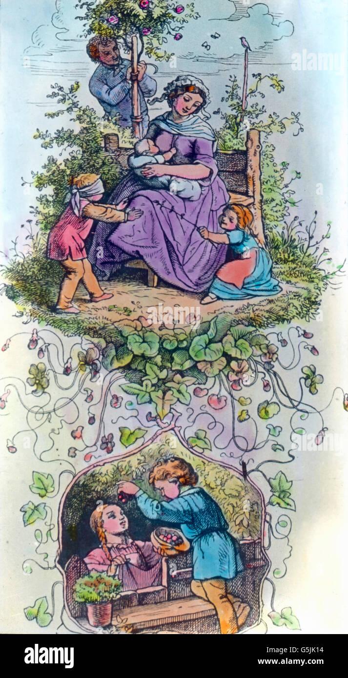 Allegorische Darstellung der Kindheit, Deutschland 1920er Jahre. Allegoric illustration of childhood, Germany 1920s. - Stock Image