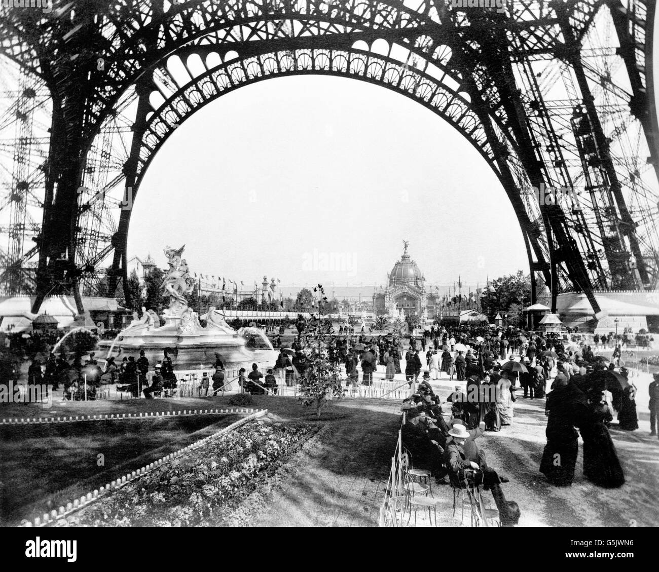 Paris Exposition 1889. Eiffel Tower. Crowds on the Champ de Mars during the Exposition Universelle of 1889, Paris, - Stock Image