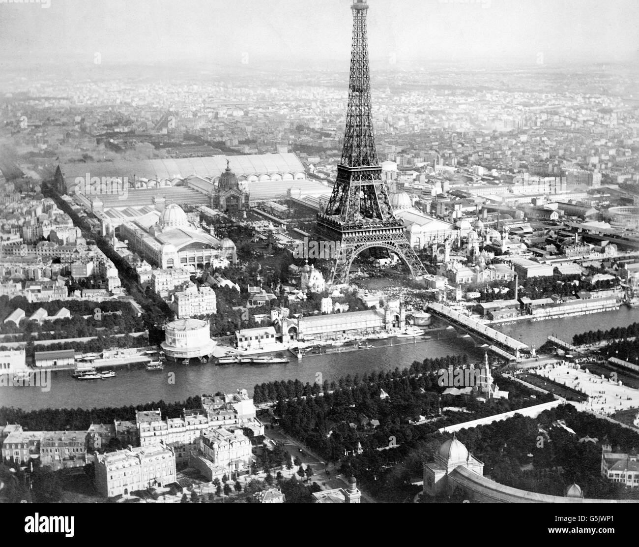 Paris Exposition 1889. Aerial view of Paris, France, from a balloon, showing the River Seine, the Eiffel Tower and - Stock Image