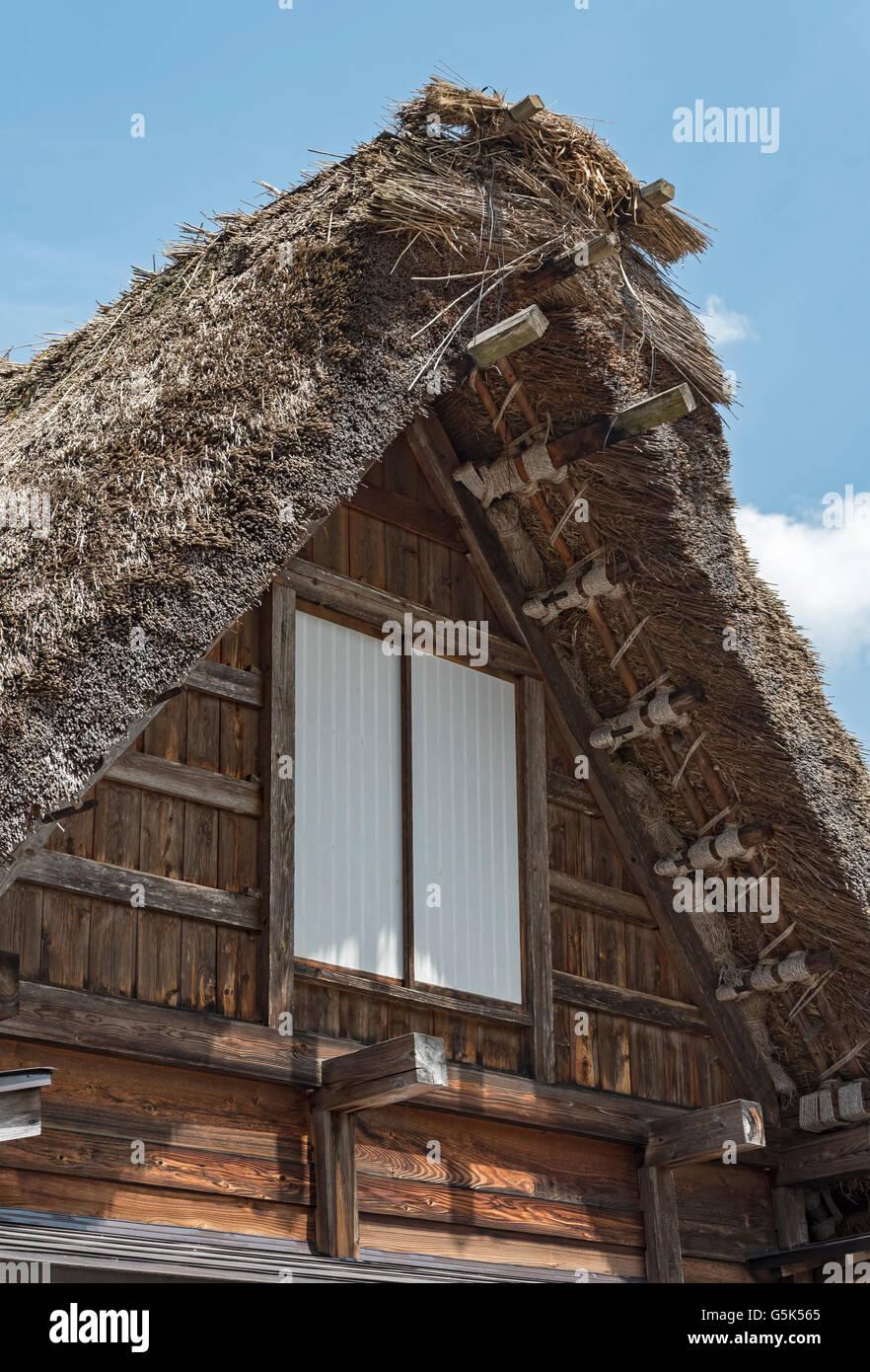Gassho-zukuri farmhouse roof, Shirakawa, Japan - Stock Image