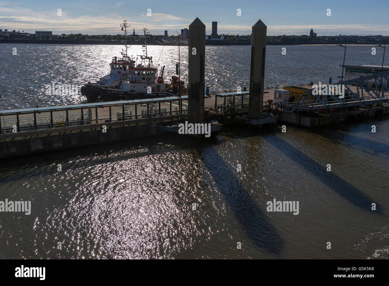 Liverpool Merseyside North West England.  Two Holyhead towing company tugs berthed at the pierhead in the evening - Stock Image
