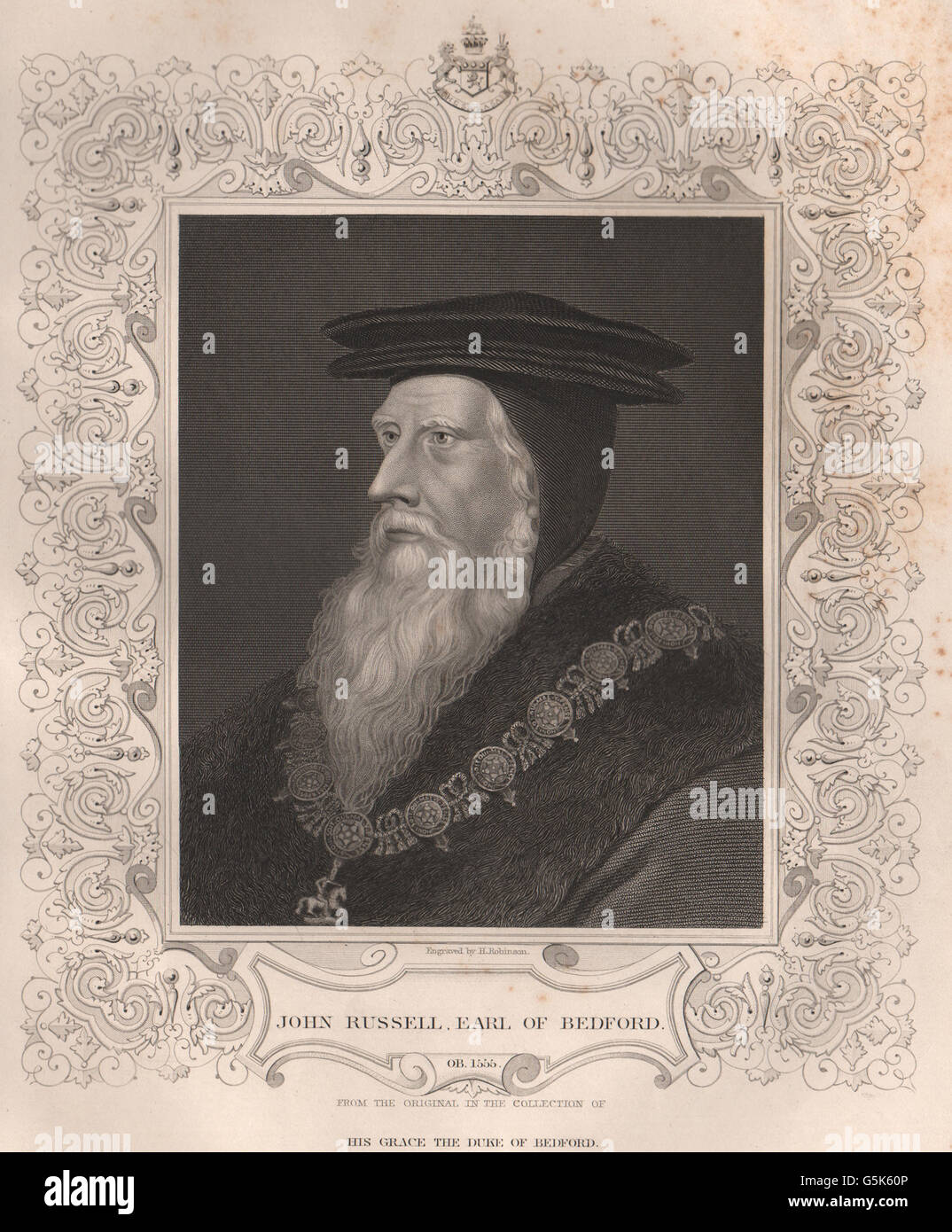 BRITISH HISTORY: John Russell, Earl Of Bedford. TALLIS, antique print 1853 - Stock Image