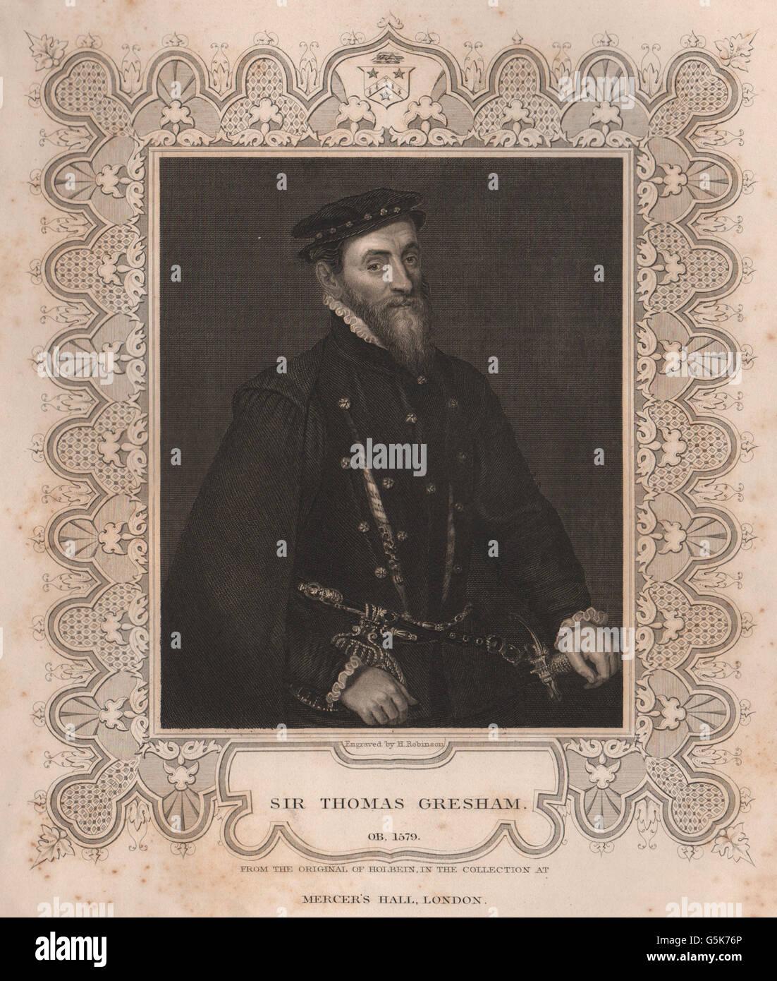 BRITISH HISTORY: Sir Thomas Gresham. TALLIS, antique print 1853 - Stock Image