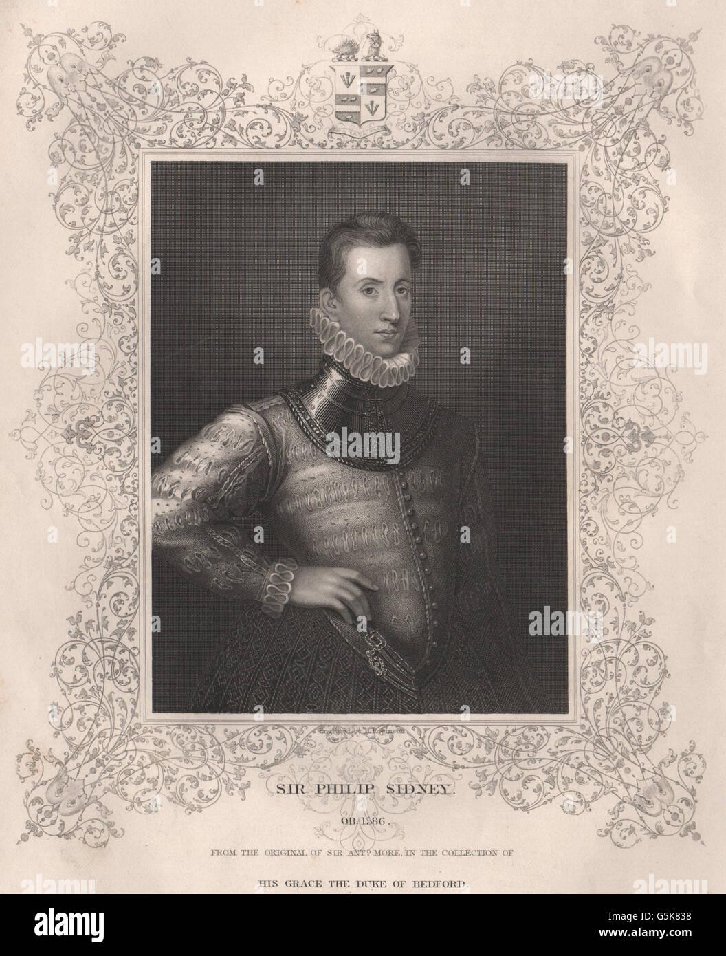 BRITISH HISTORY: Sir Philip Sidney. TALLIS, antique print 1853 - Stock Image
