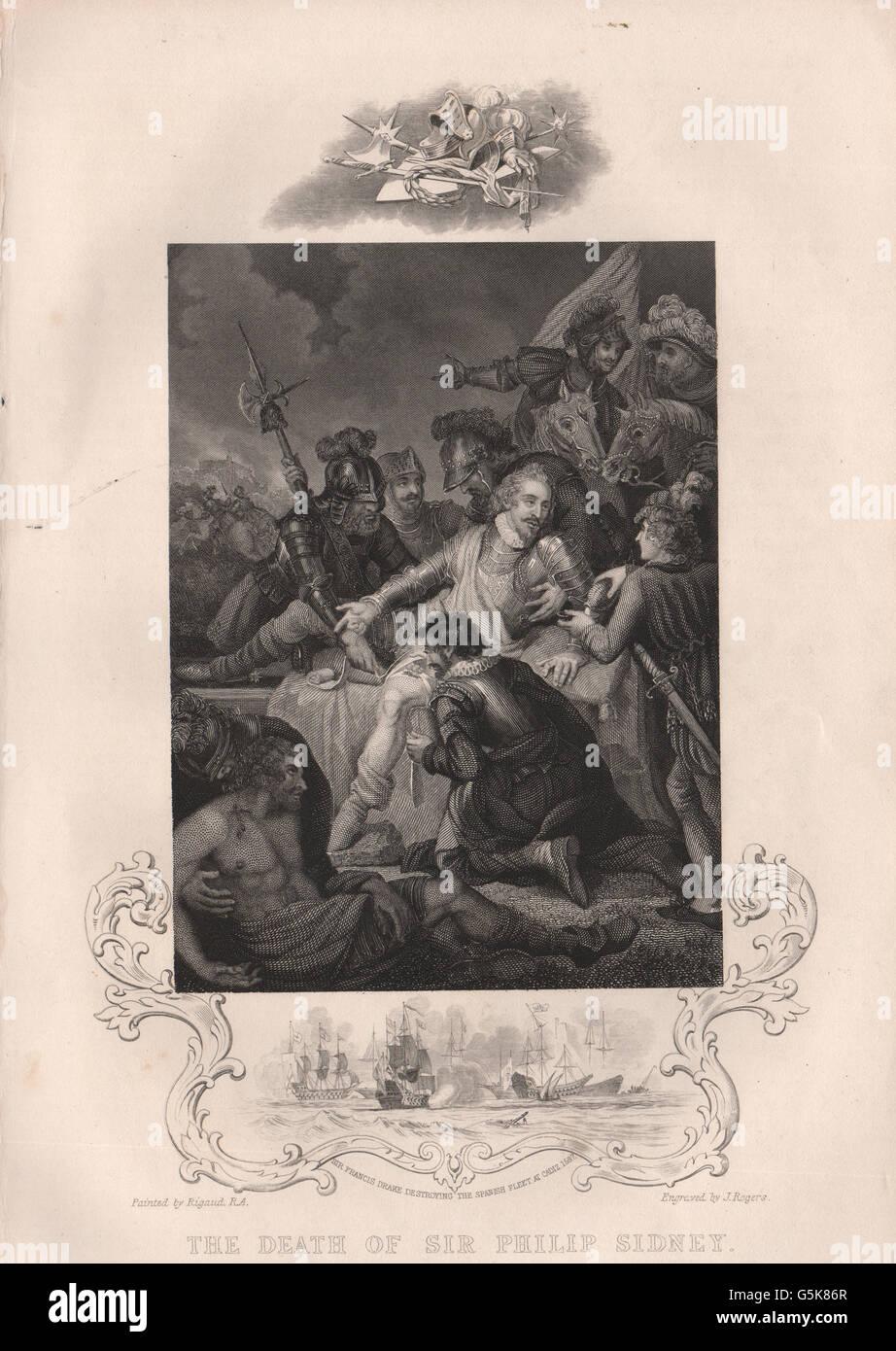 BATTLE OF ZUTPHEN: Sir Philip Sidney's death. Francis Drake at Cadiz 1587, 1853 - Stock Image