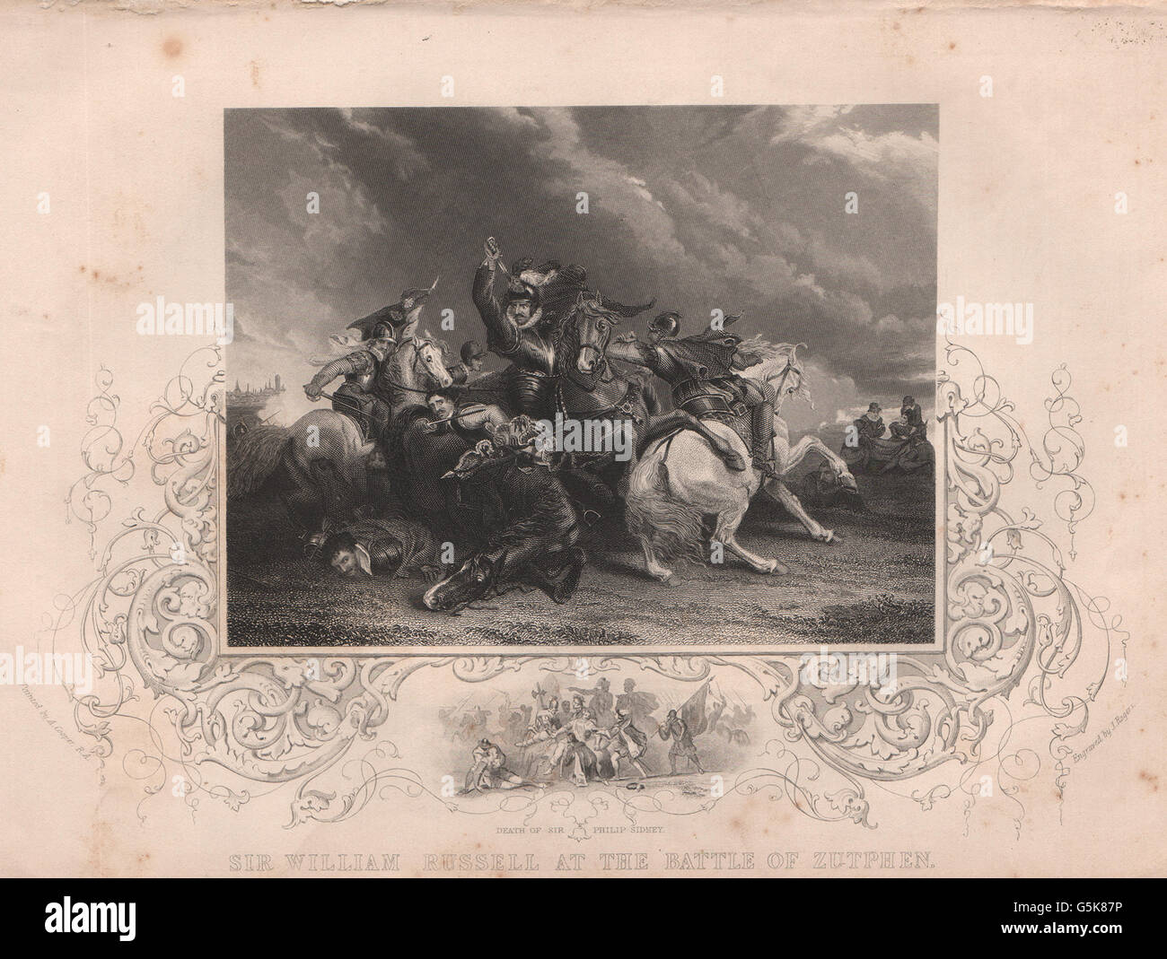SIR WILLIAM RUSSELL: At the Battle of Zutphen. Death of Sir Philip Sidney, 1853 - Stock Image