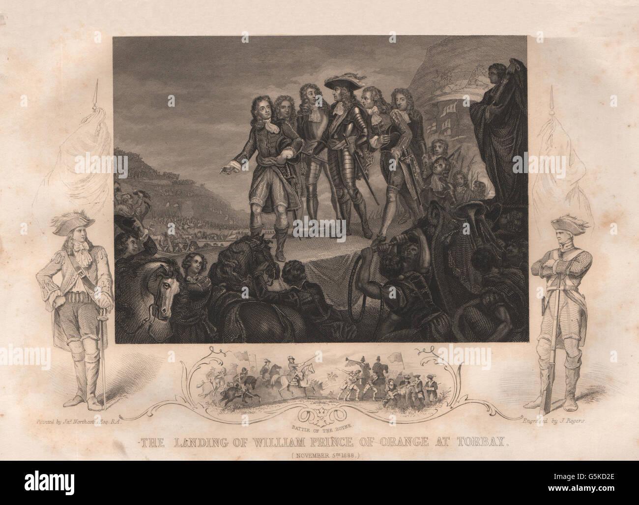 GLORIOUS REVOLUTION: William Prince Of Orange landing at Torbay 1688. Boyne 1853 - Stock Image