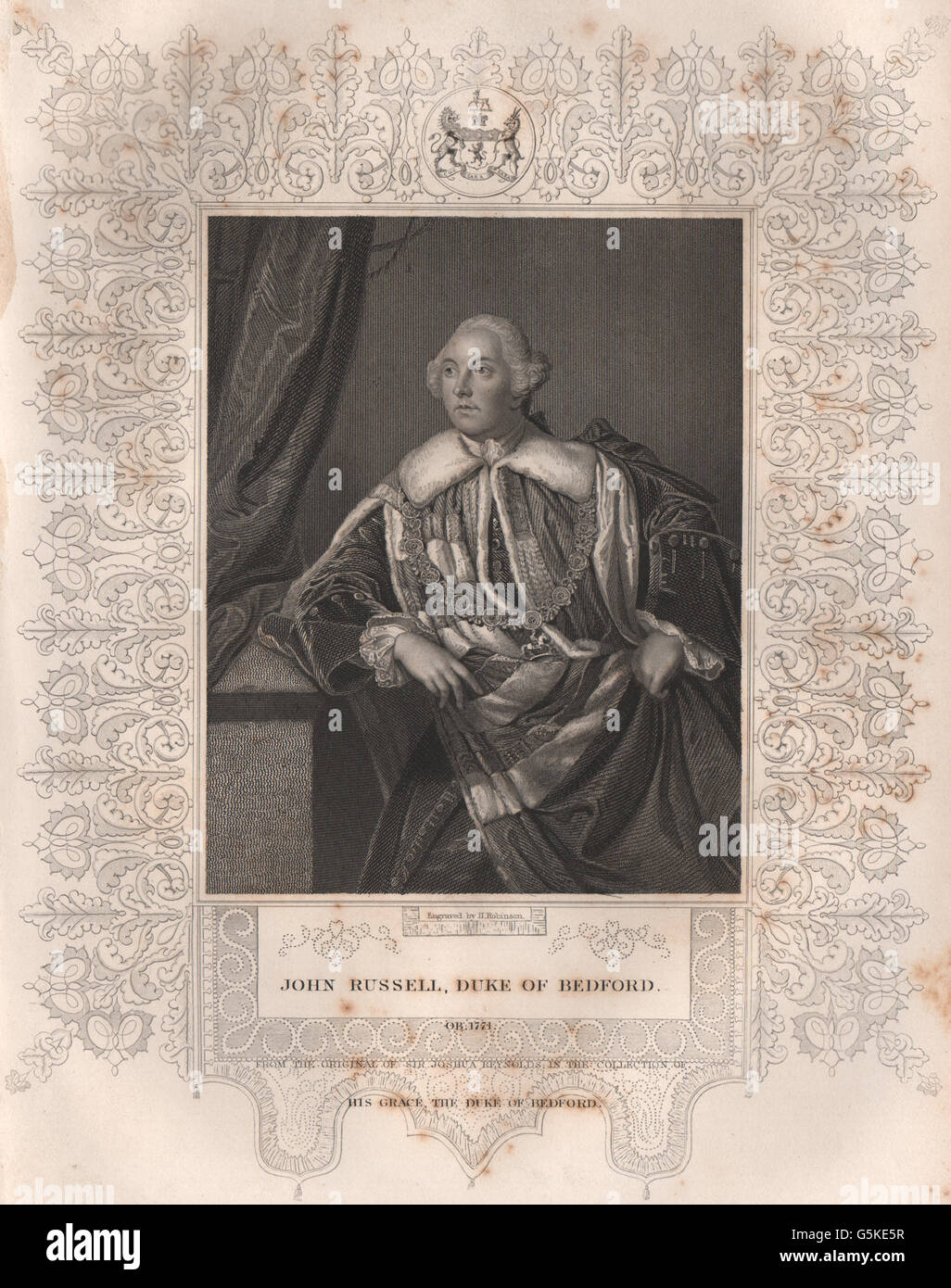BRITISH HISTORY: John Russell, Duke Of Bedford. TALLIS, antique print 1853 - Stock Image