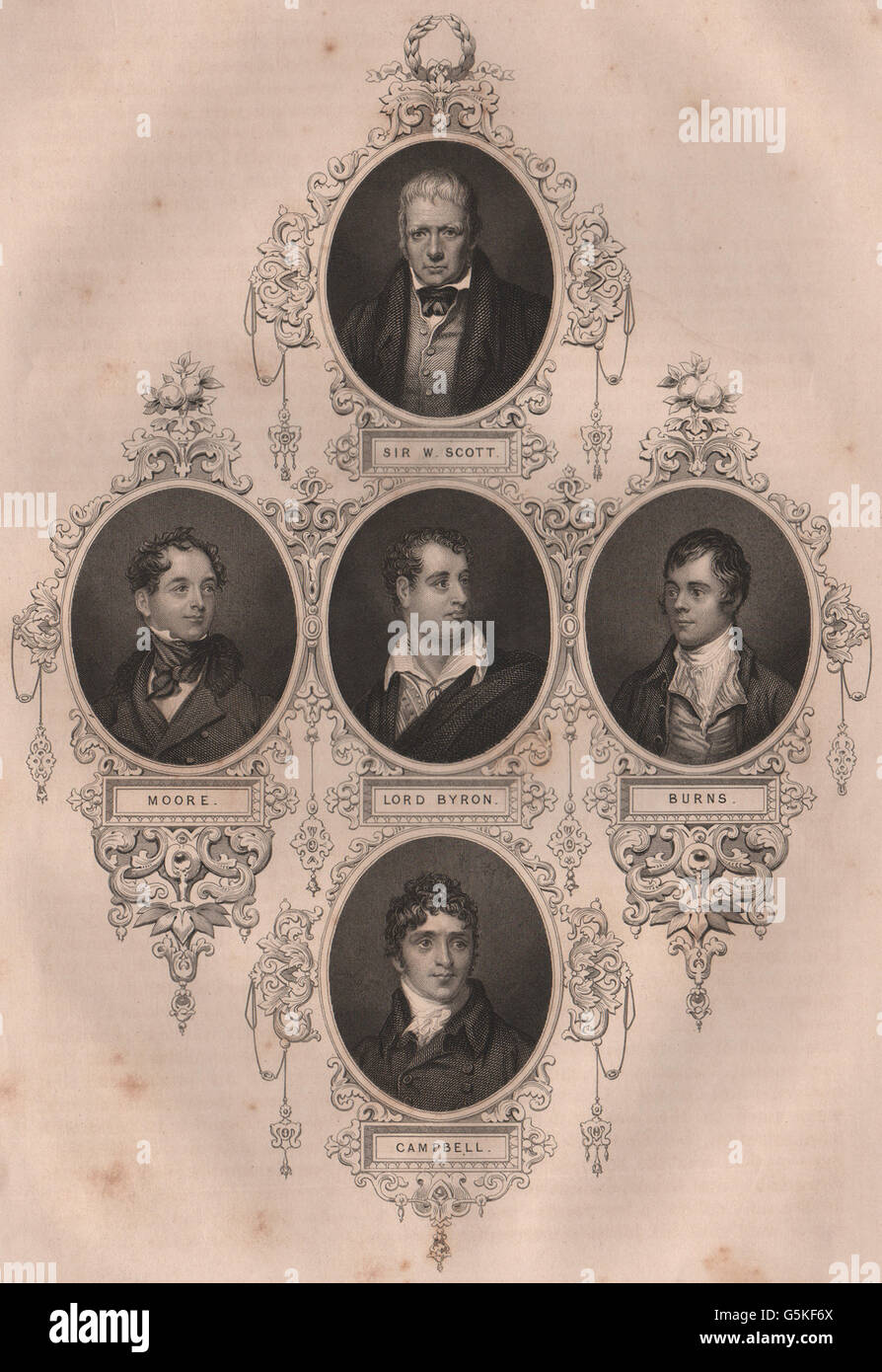 BRITISH HISTORY: Sir Walter Scott; Moore; Lord Byron; Burns; Campbell, 1853 - Stock Image