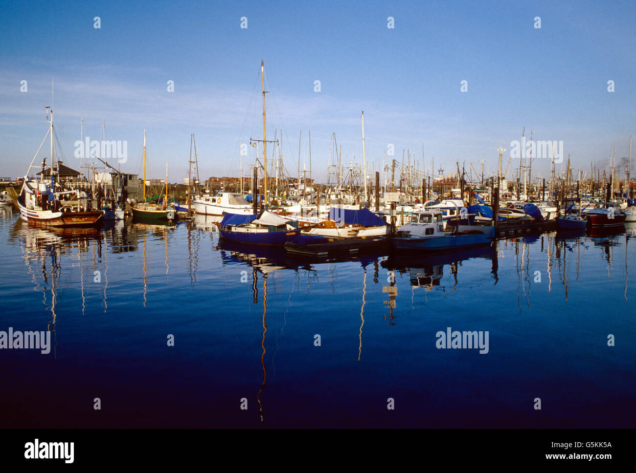 Boats moored at a marina at Discovery Bay, Strait of Juan de Fuca, Olympic Peninsula, Washington, USA - Stock Image