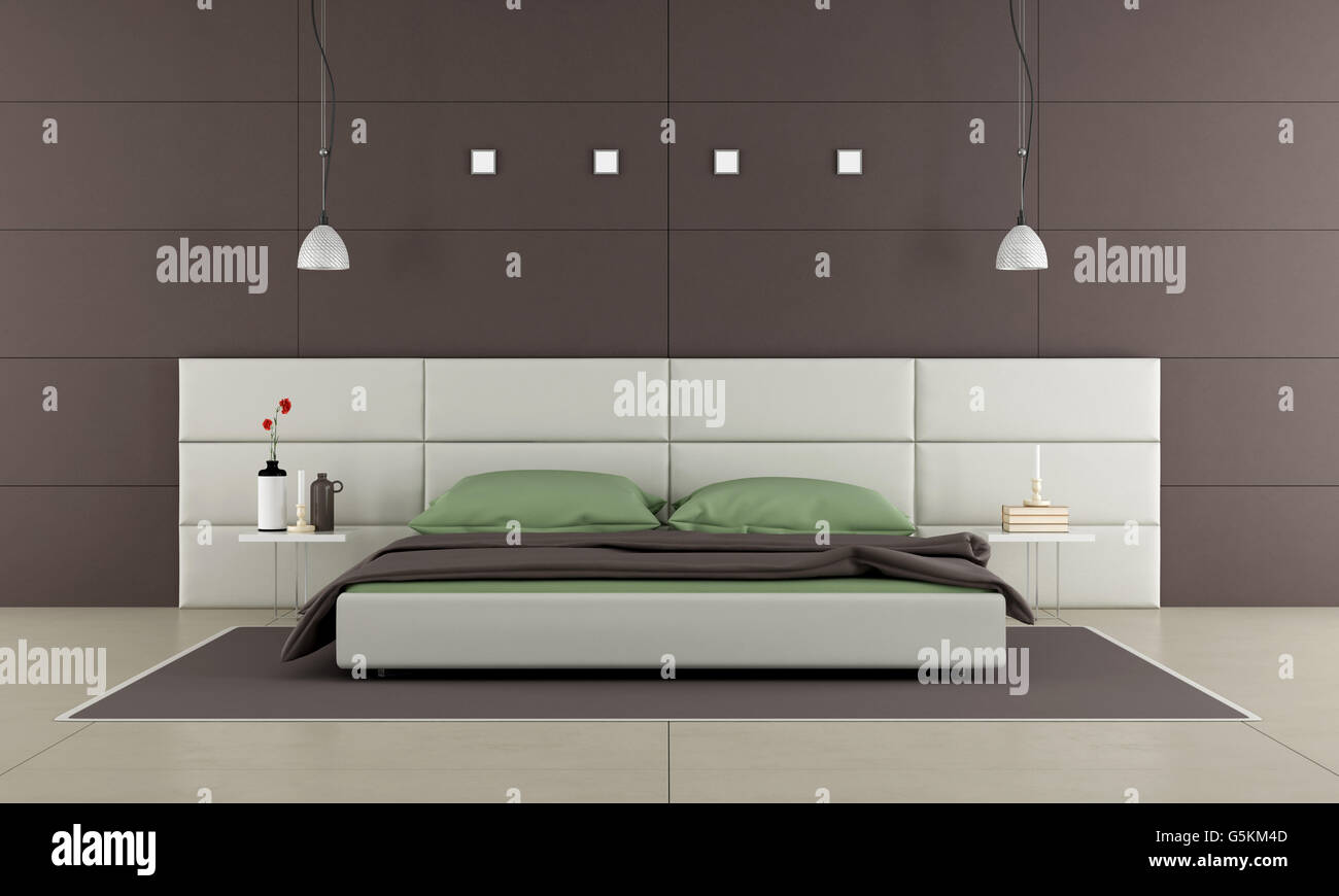 Brown Bedroom With Modern Bed Nightstand And Wall Paneling