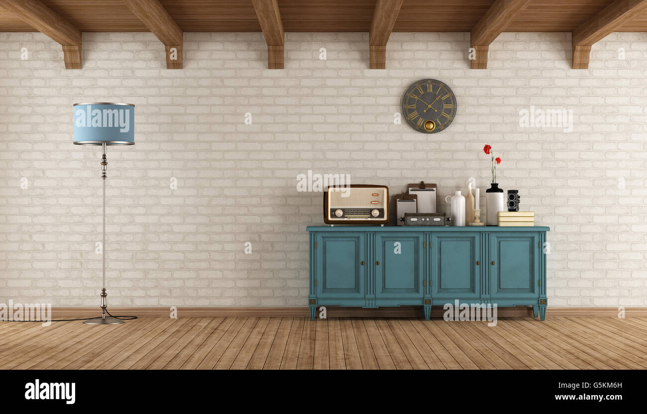 Retro Living Room With Old Radio And Vintage Objects On Blue Wooden  Sideboard   3d Rendering