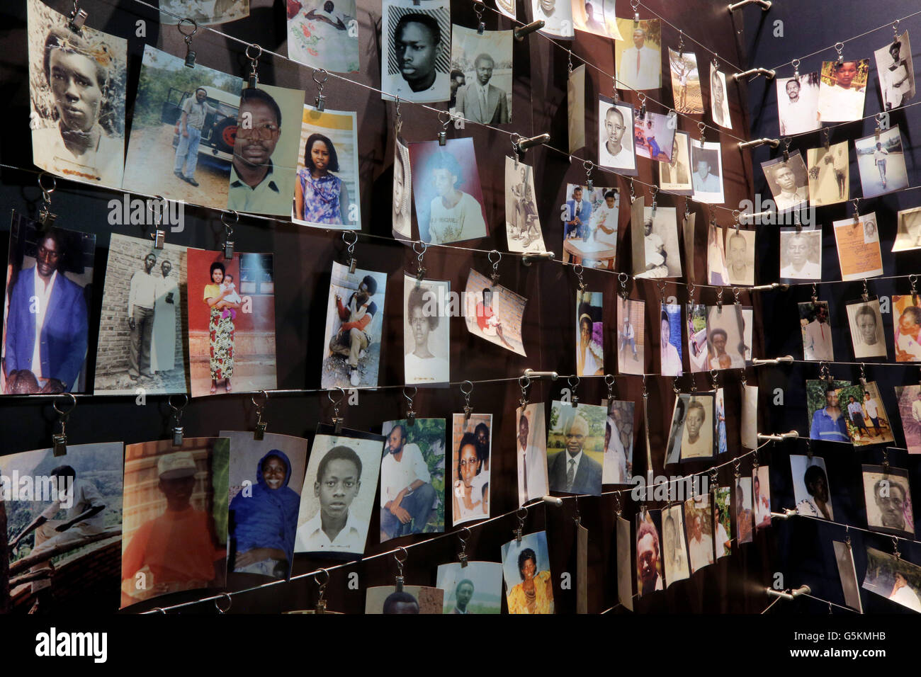 Photographs (donated to the museum by families) of people who were killed during the 1994 genocide. Kigali Memorial - Stock Image