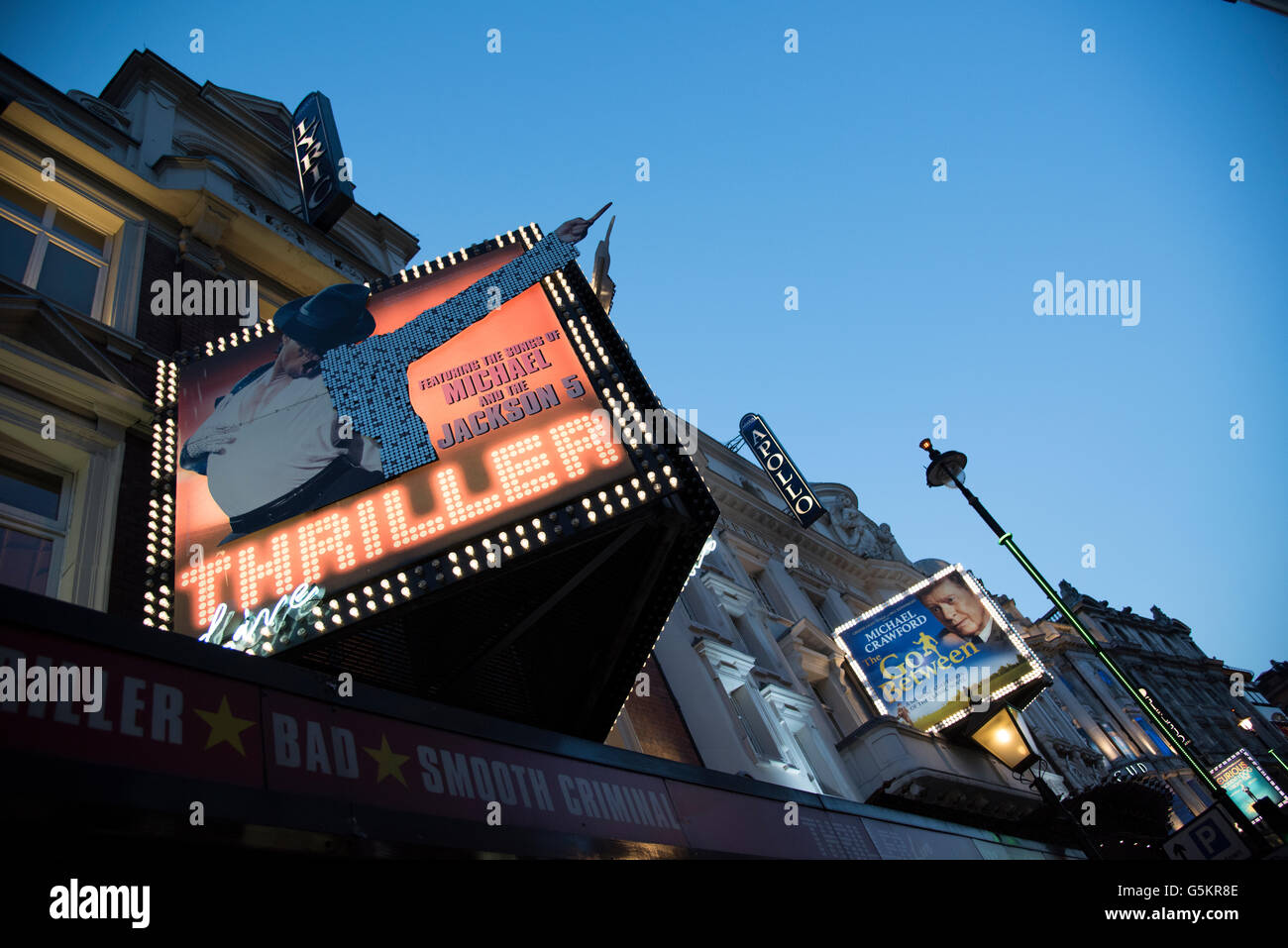 Thriller Live & The Go Between Showings at Lyric & Apollo Theatres Respectively on Shafesbury Avenue, London - Stock Image