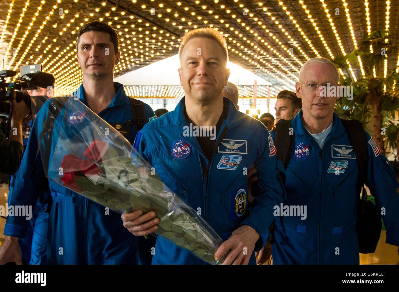 International Space Station crew from Expedition 47 crew American astronaut Tim Kopra is welcomed as he arrives - Stock Image