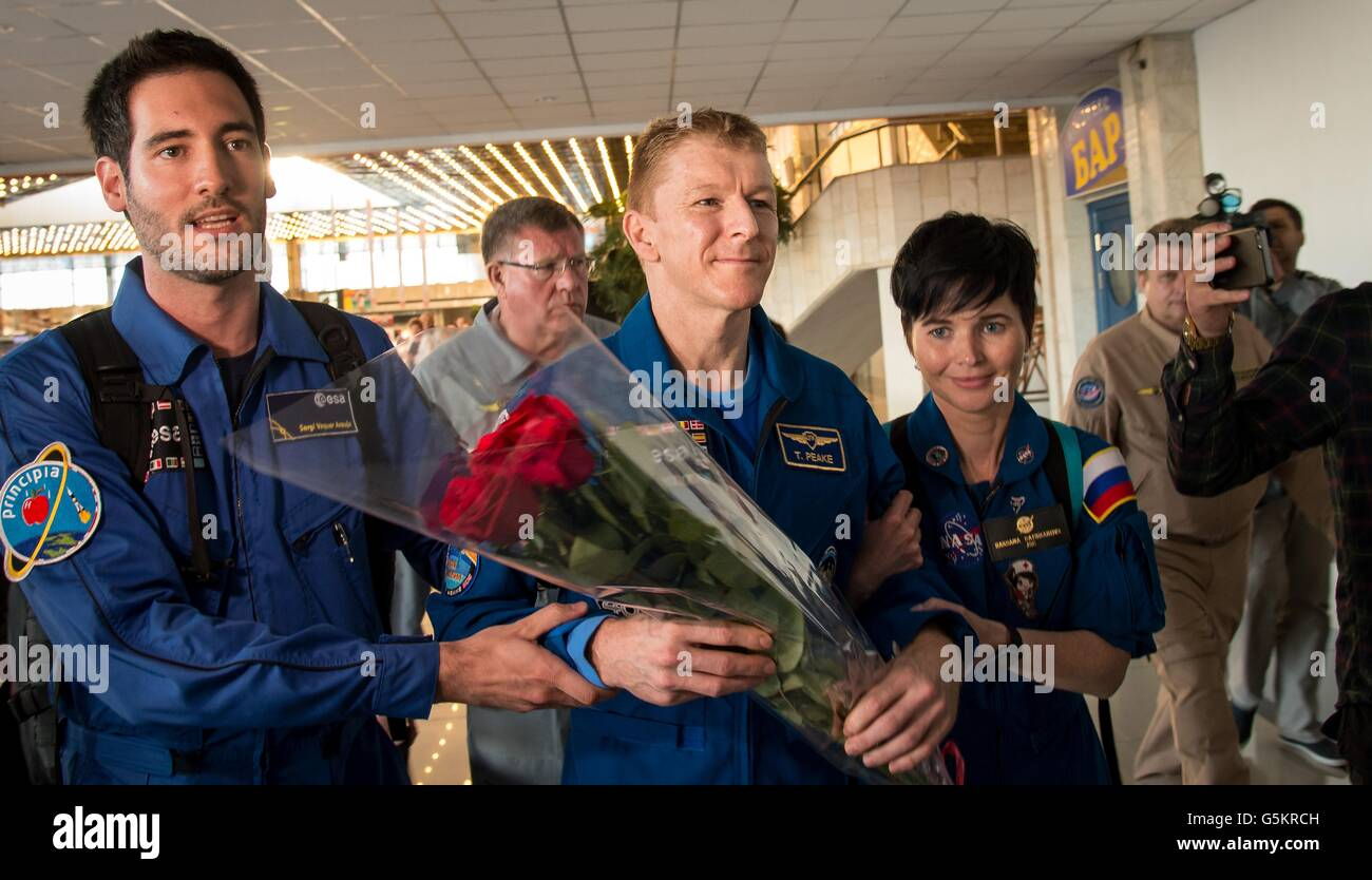 International Space Station crew from Expedition 47 crew European Space Agency astronaut Tim Peake is welcomed as - Stock Image