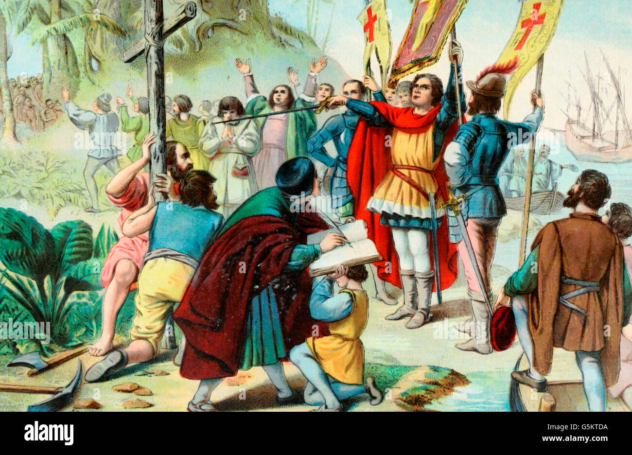Christopher Columbus taking possession of the New World - Stock Image