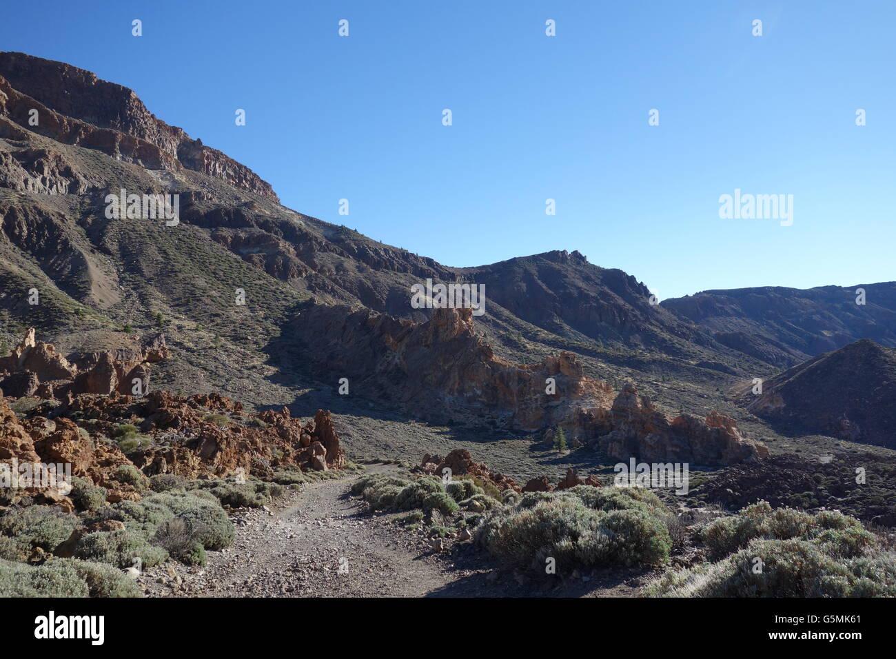 Walking on Rura de las Canadas, GR131, Teide National Park, Tenerife - Stock Image