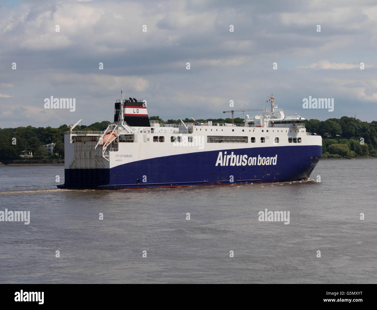 Hamburg, Germany, June 18, 2016, Airbus Transport ship 'City of Hamburg' which is used to transport Airbus - Stock Image