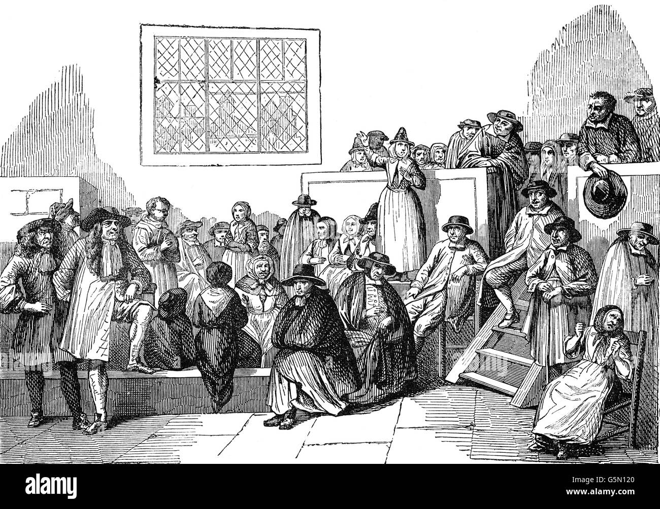 A meeting of the Religious Society of Friends, a Christian movement founded by George Fox circa 1650 and devoted - Stock Image