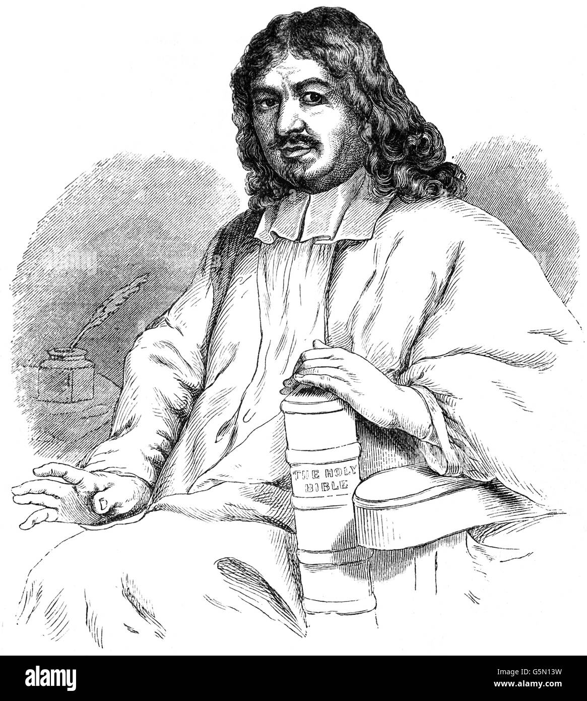 John Bunyan (1629 - 1688) was an English writer and Baptist preacher.  After the restoration of the monarch, when - Stock Image