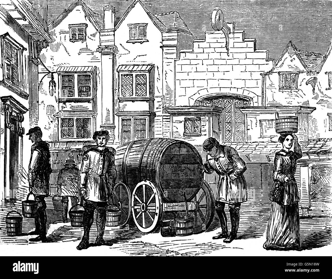 Old London Water Carriers in the 17th Century. - Stock Image