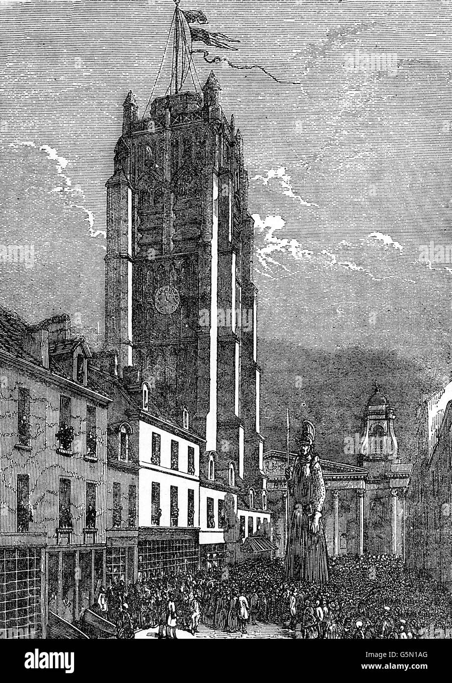 The Clock Tower in Dunkirk and Procession of Giants in 1676, a chance for fishermen to let off steam before braving - Stock Image