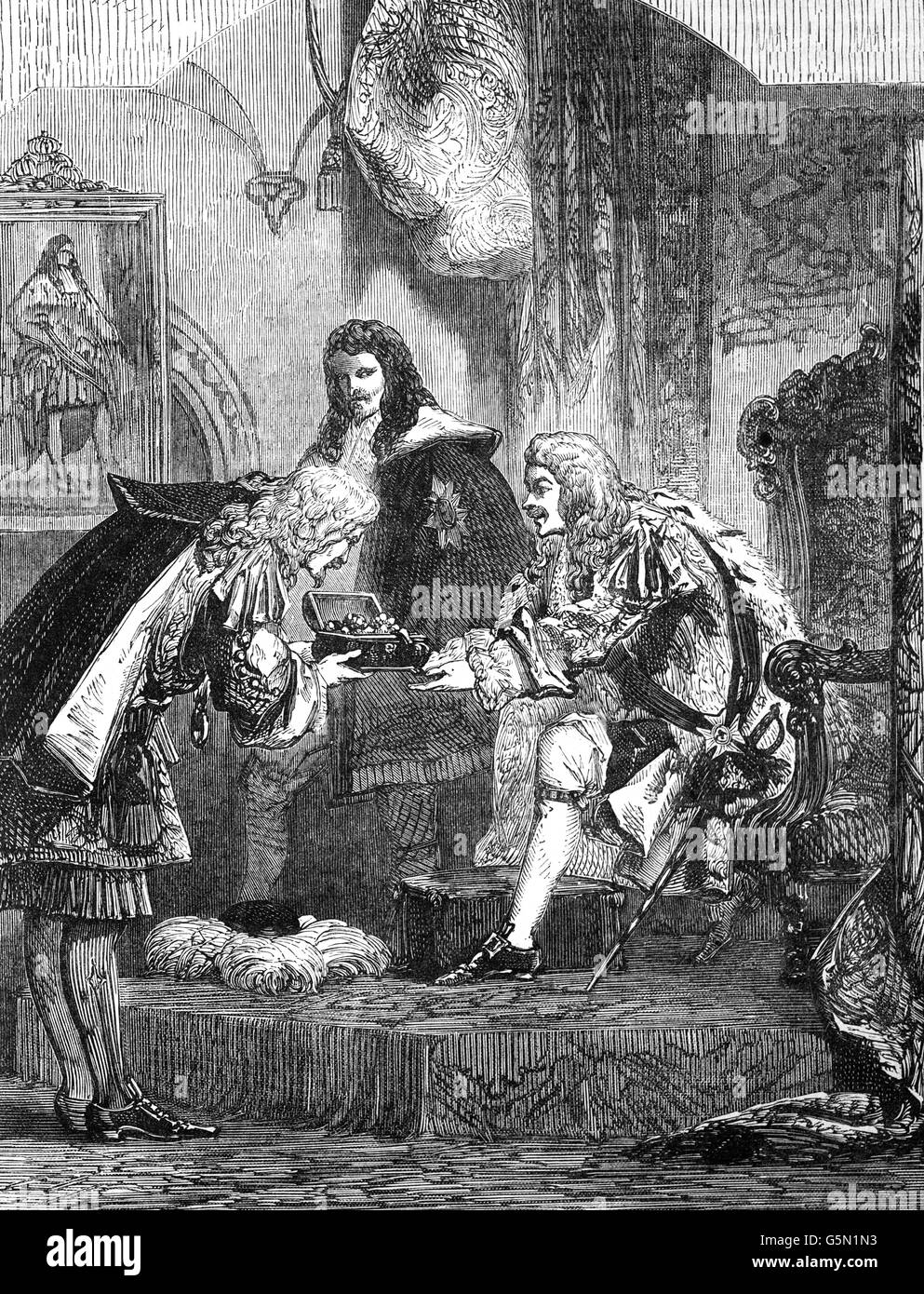 King James II receiving a bribe from the French around 1685. - Stock Image