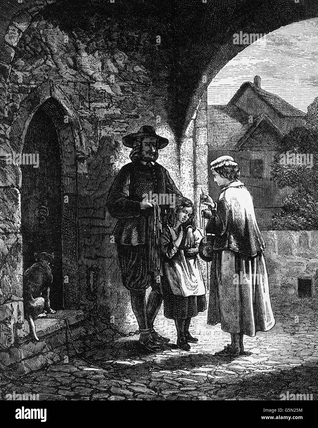 John Bunyan with his wife and blind first daughter, Mary, was born in 1650, at the gates of Bedford Gaol. Bunyan - Stock Image