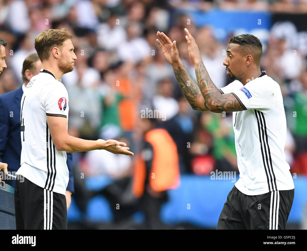 Paris, France. 21st June, 2016. Germany's Jerome Boateng (r) with Benedikt Hoewedes during the UEFA Euro 2016 - Stock Image