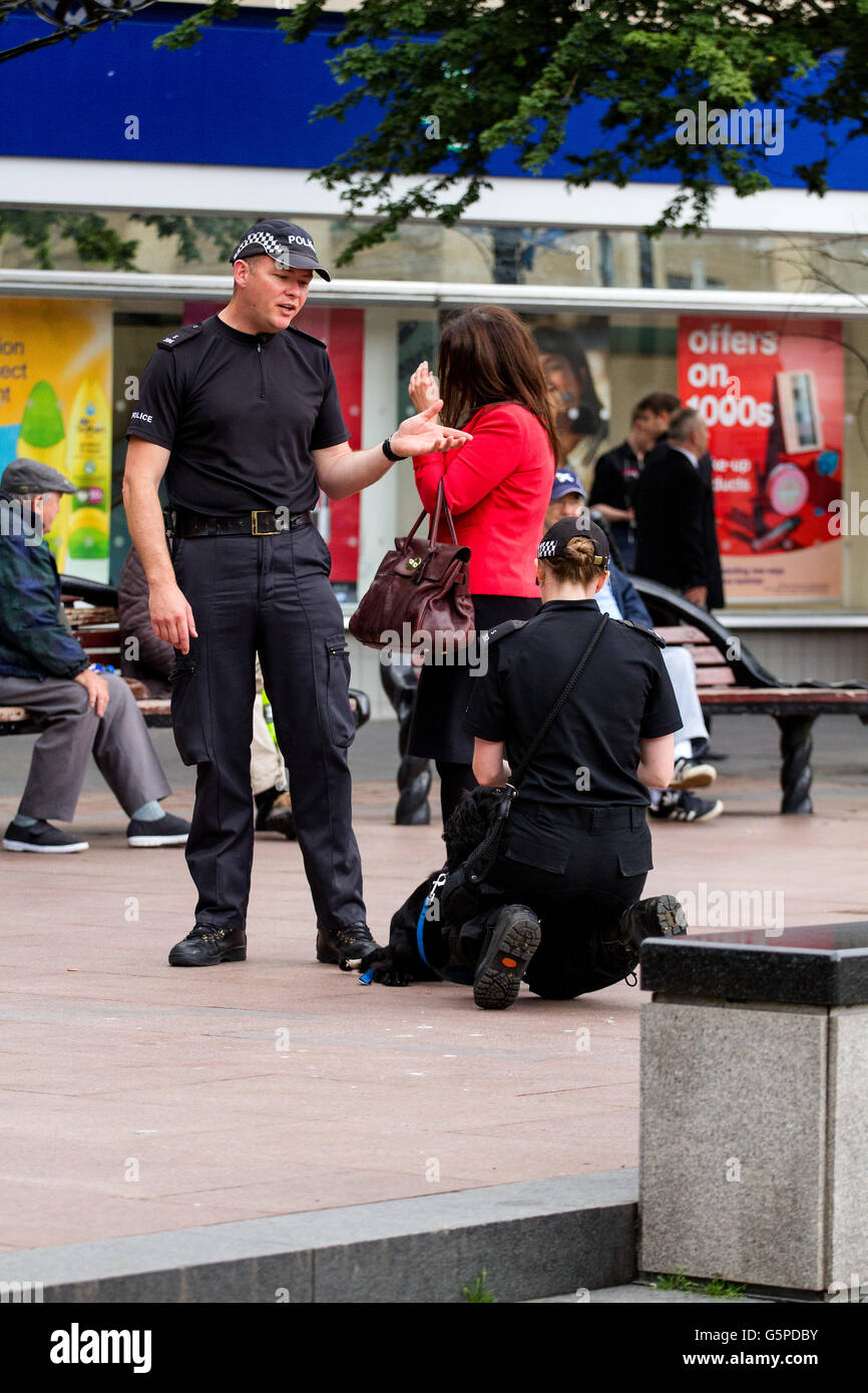 Dundee, Tayside, Scotland, UK. June 22nd 2016. Two Police Scotland police officers training a sniffer dog in Dundee Stock Photo