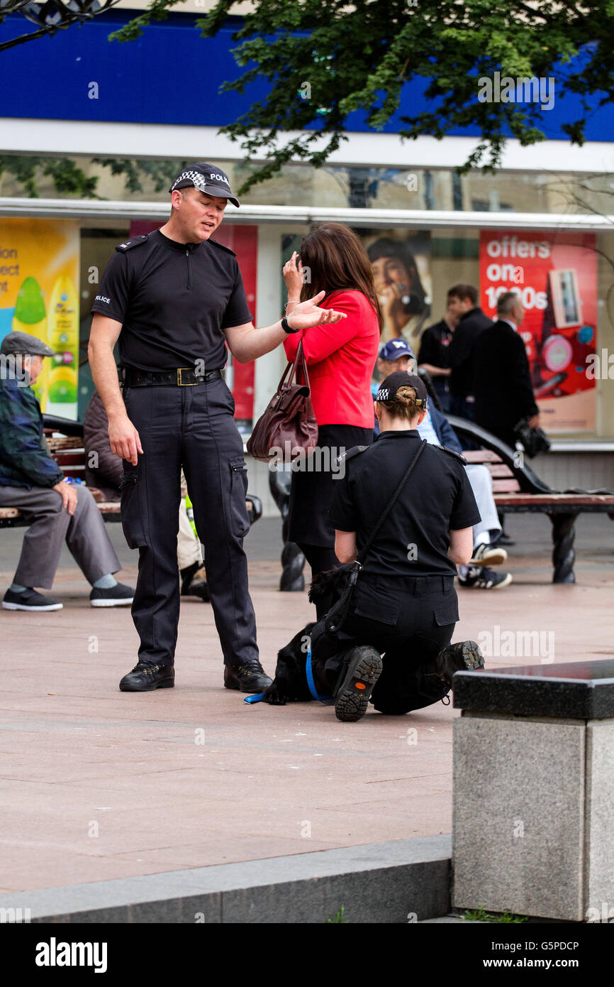 Dundee, Tayside, Scotland, UK. June 22nd 2016. Two Police Scotland policewoman training a sniffer dog in Dundee Stock Photo