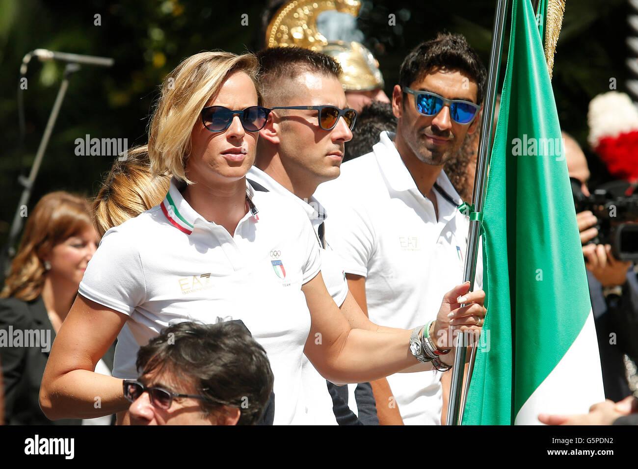 Federica Pellegrini and Filippo Magnini Rome 22nd June 2016. Quirinal. The President meets the italian athletes - Stock Image