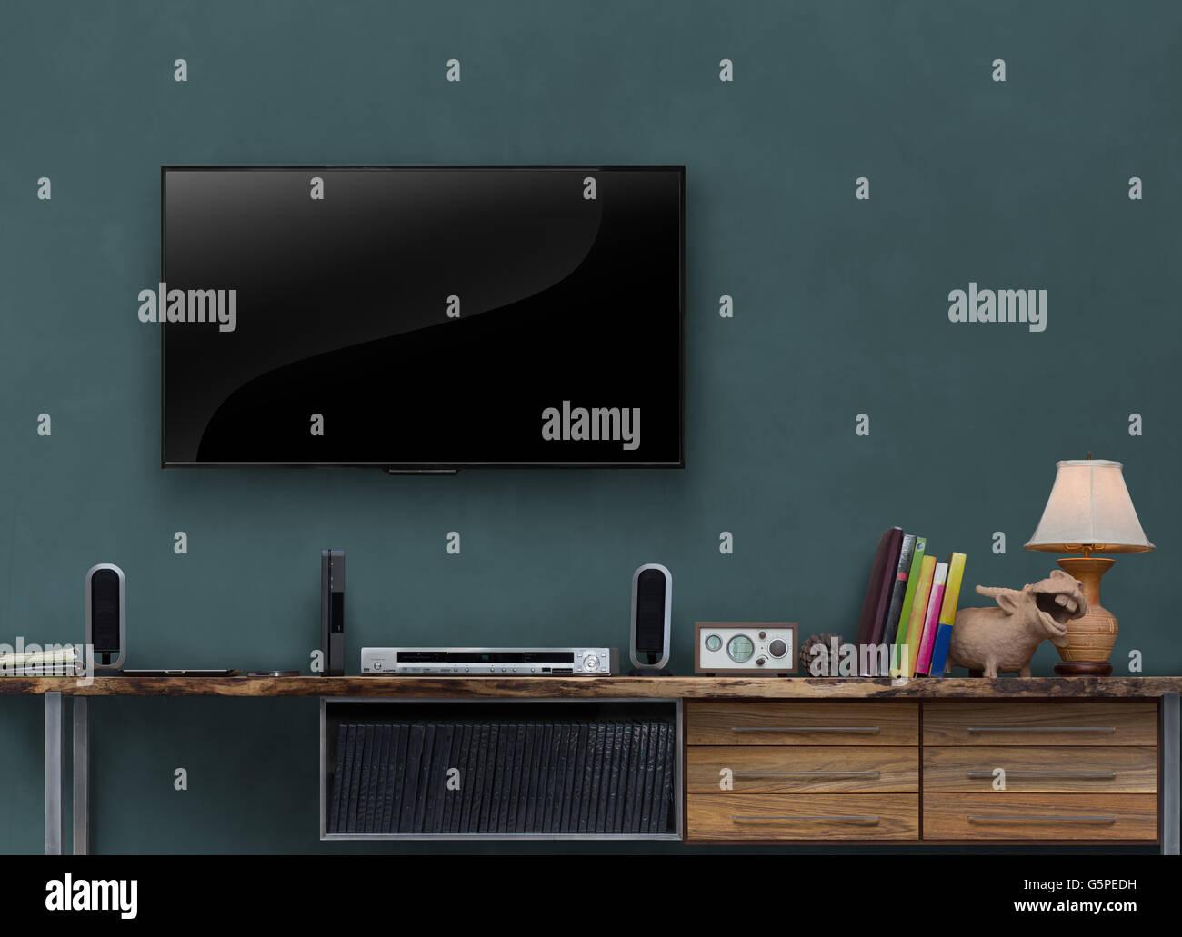 Led Tv On Dark Blue Wall Wooden Media Furniture In Living Room